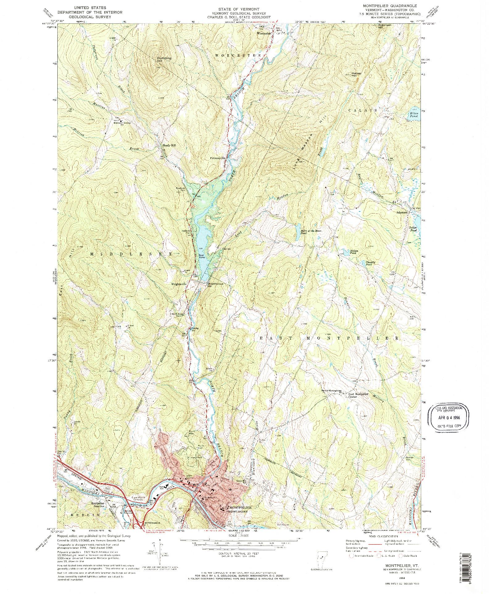 USGS 1:24000-SCALE QUADRANGLE FOR MONTPELIER, VT 1968