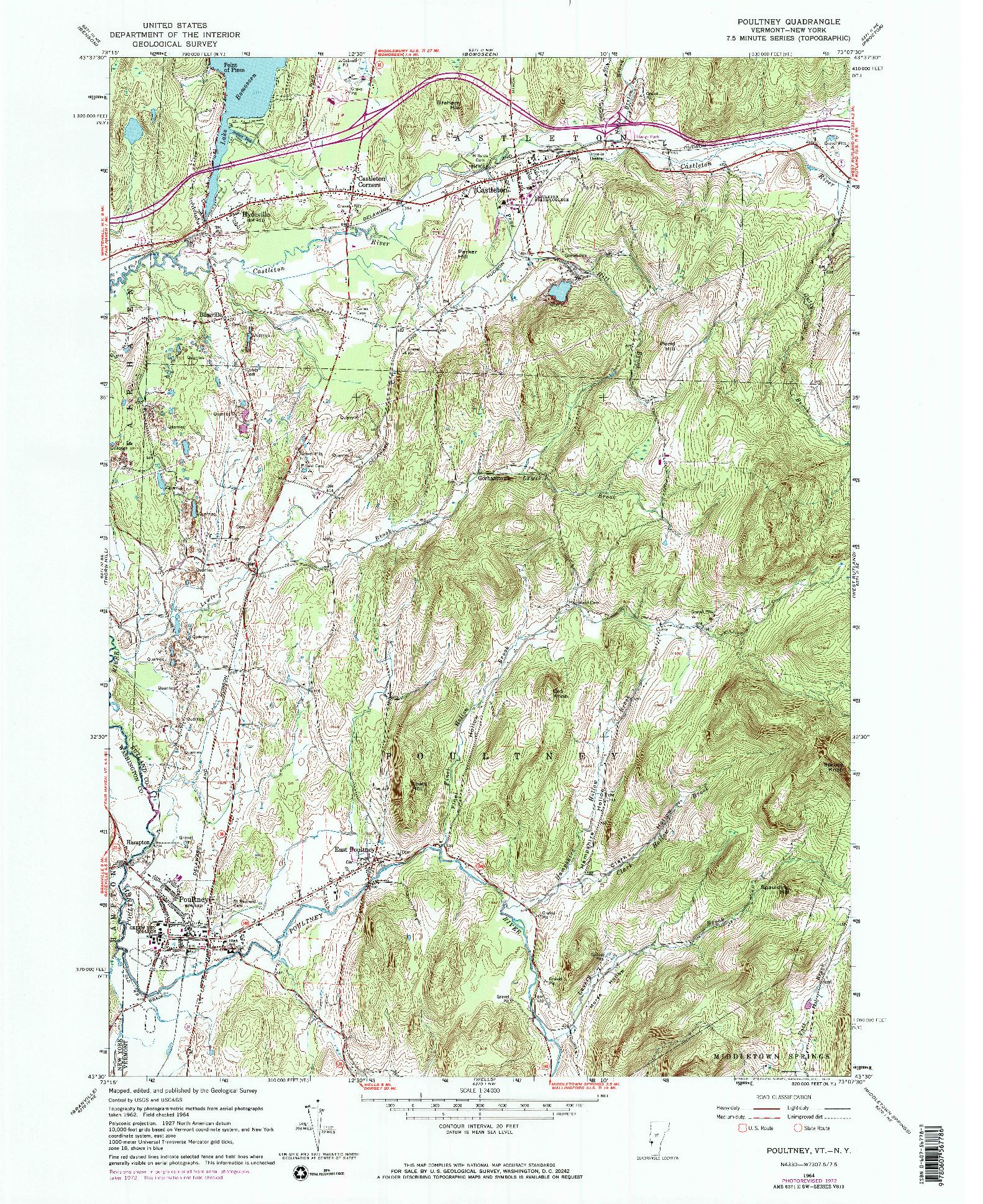 USGS 1:24000-SCALE QUADRANGLE FOR POULTNEY, VT 1964
