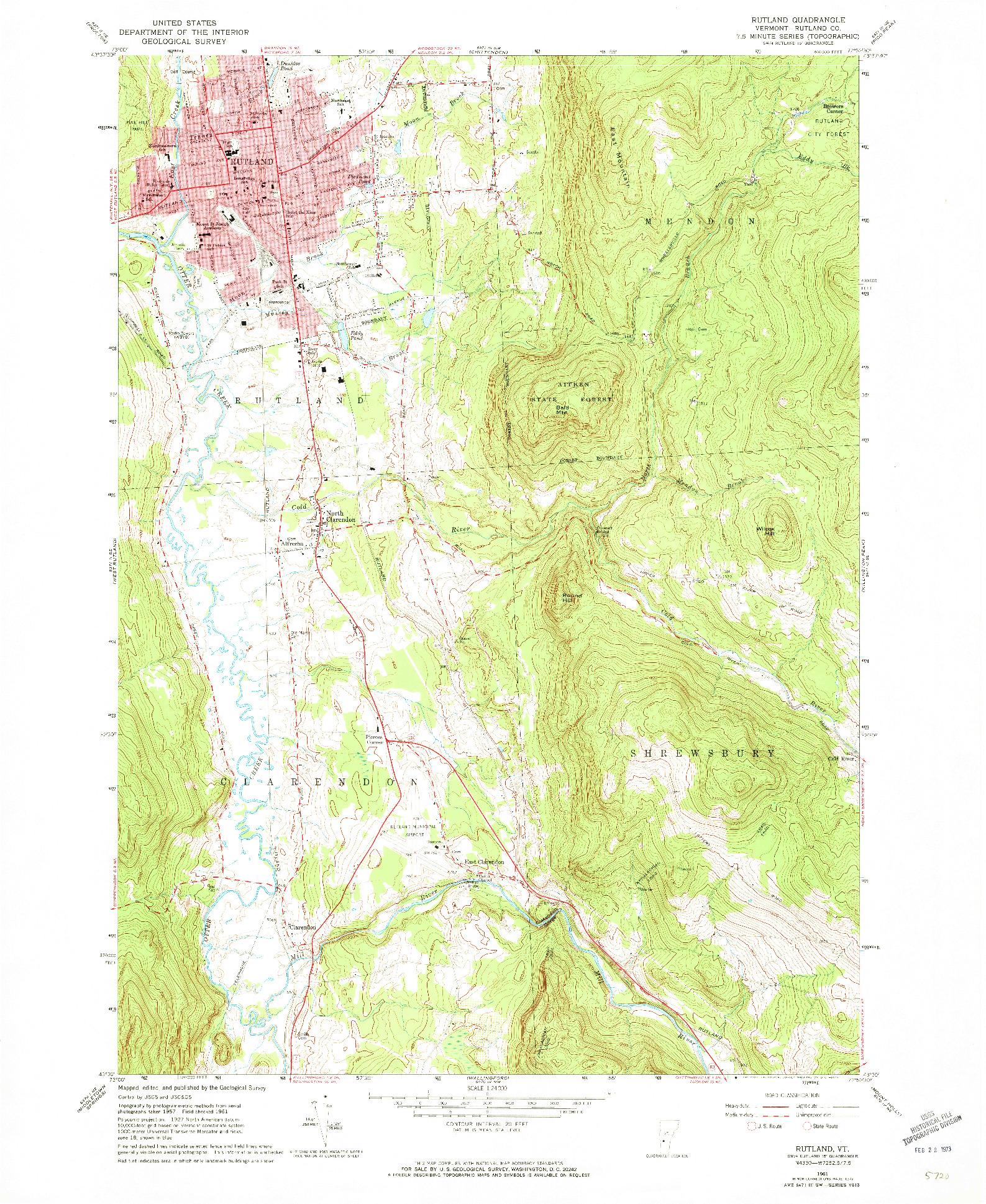 USGS 1:24000-SCALE QUADRANGLE FOR RUTLAND, VT 1961