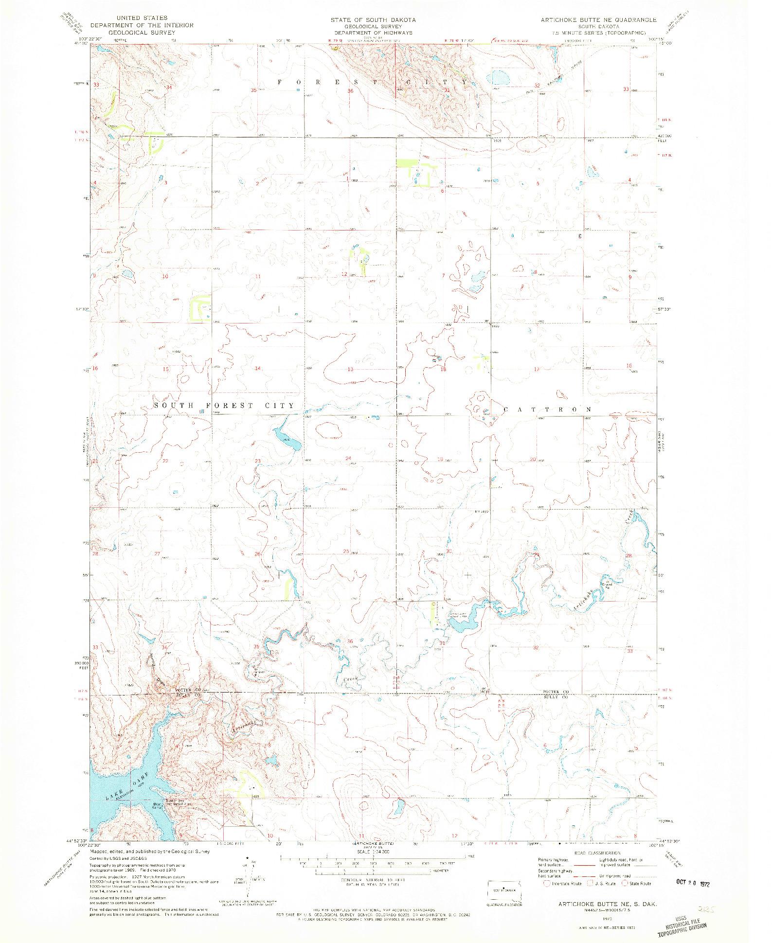 USGS 1:24000-SCALE QUADRANGLE FOR ARTICHOKE BUTTE NE, SD 1970