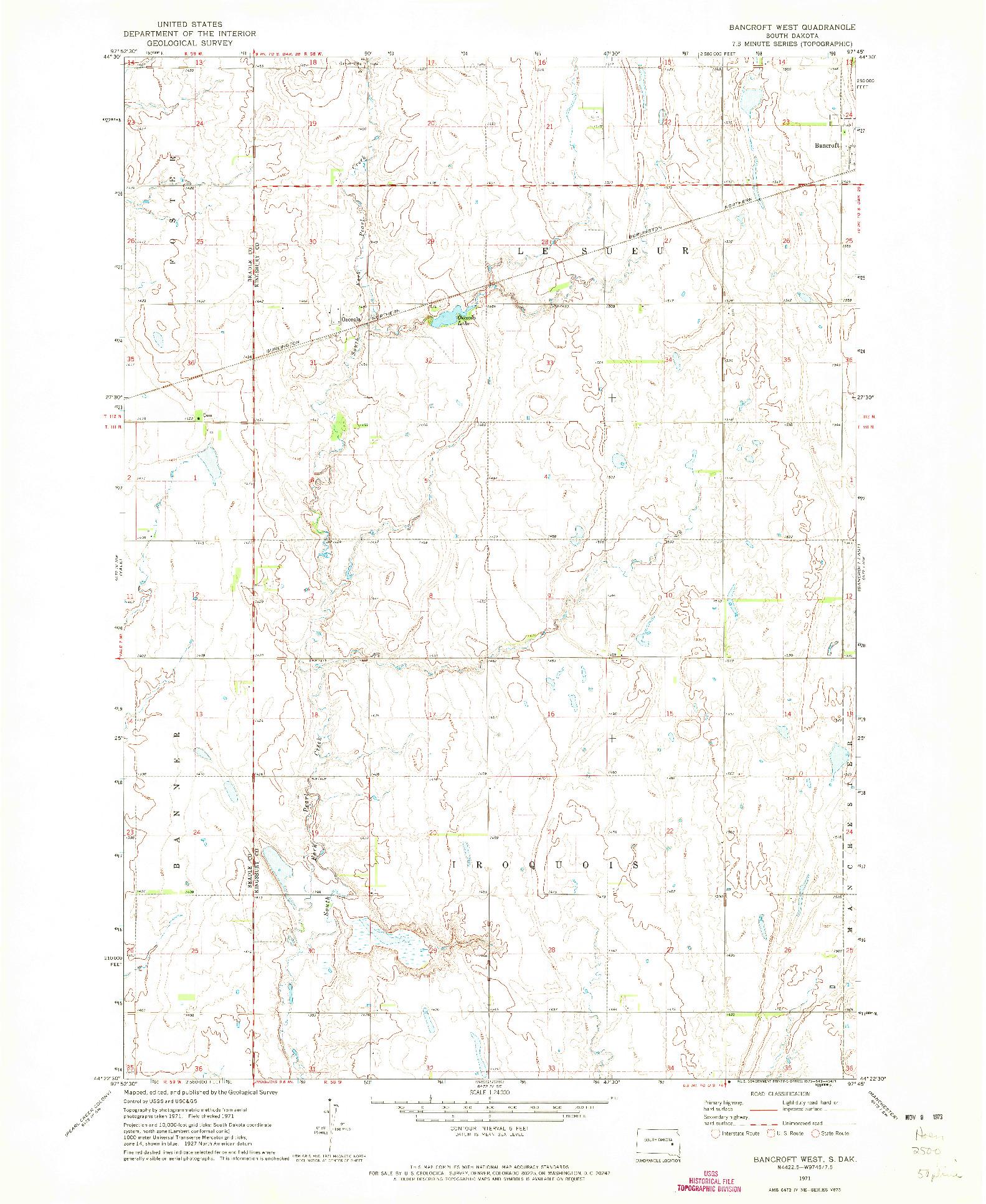 USGS 1:24000-SCALE QUADRANGLE FOR BANCROFT WEST, SD 1971