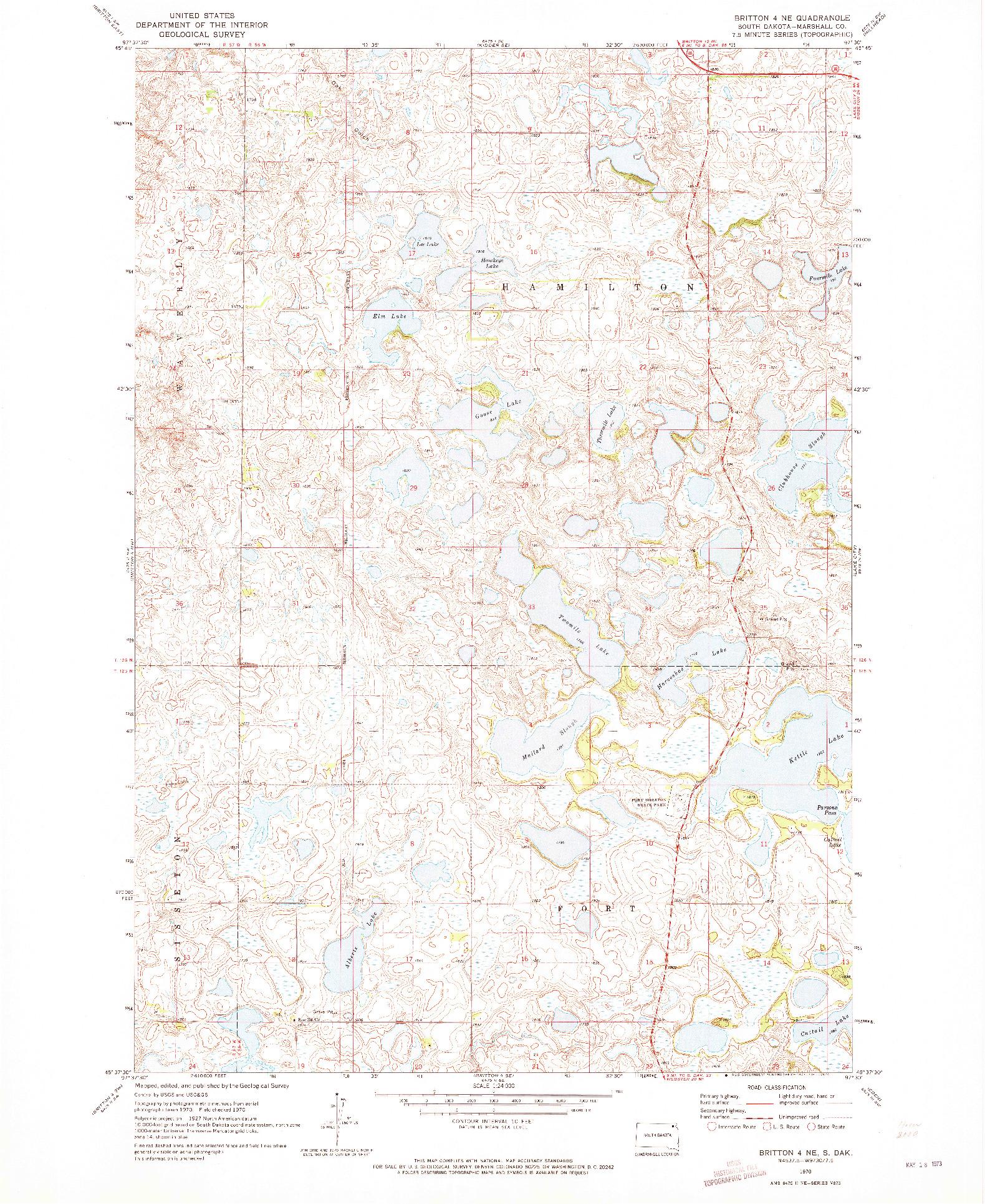 USGS 1:24000-SCALE QUADRANGLE FOR BRITTON 4 NE, SD 1970