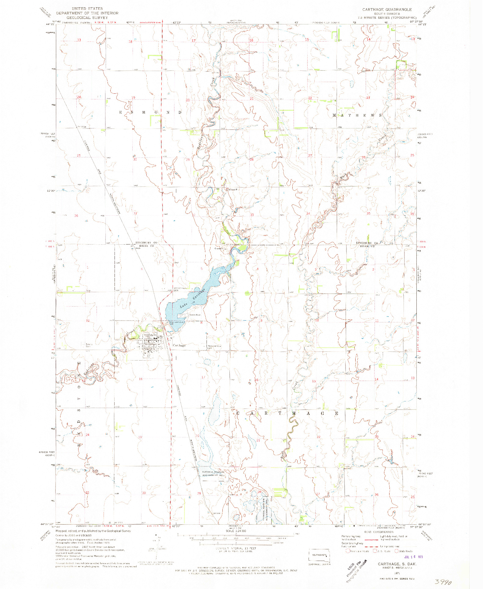 USGS 1:24000-SCALE QUADRANGLE FOR CARTHAGE, SD 1971