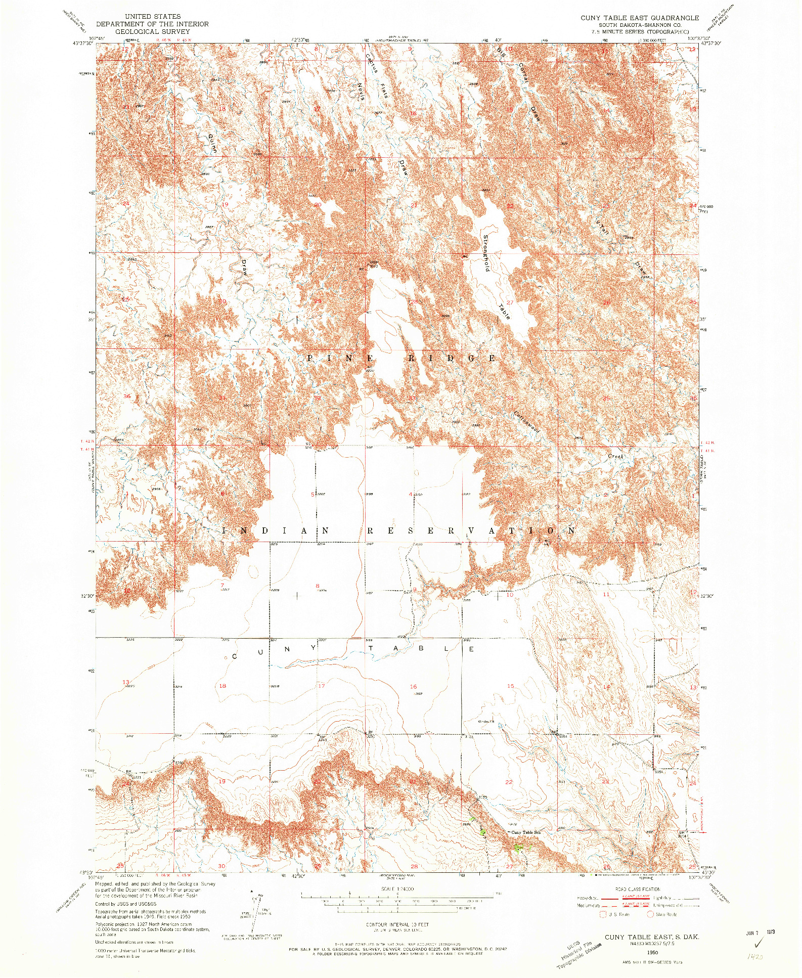 USGS 1:24000-SCALE QUADRANGLE FOR CUNY TABLE EAST, SD 1950