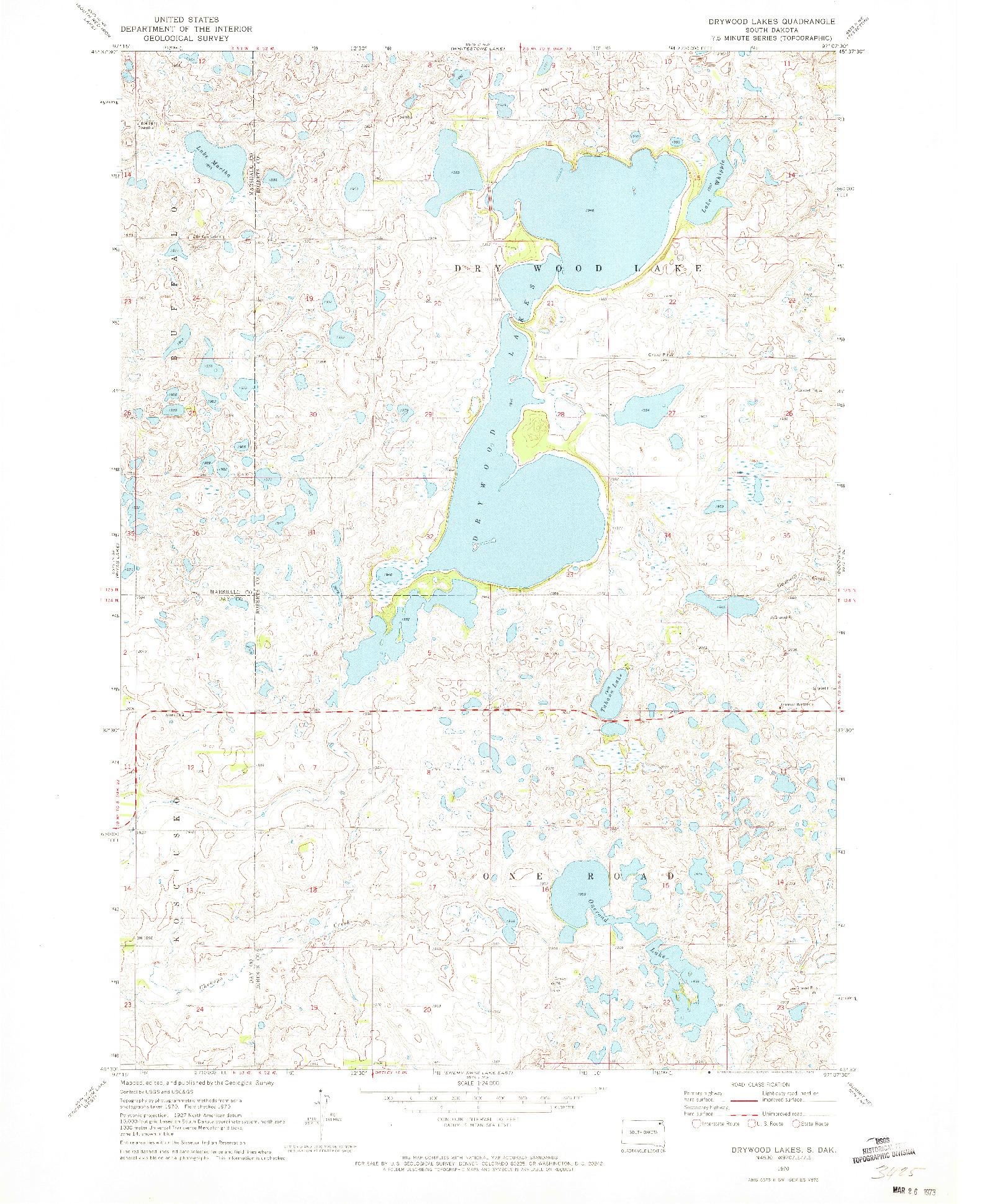 USGS 1:24000-SCALE QUADRANGLE FOR DRYWOOD LAKES, SD 1970