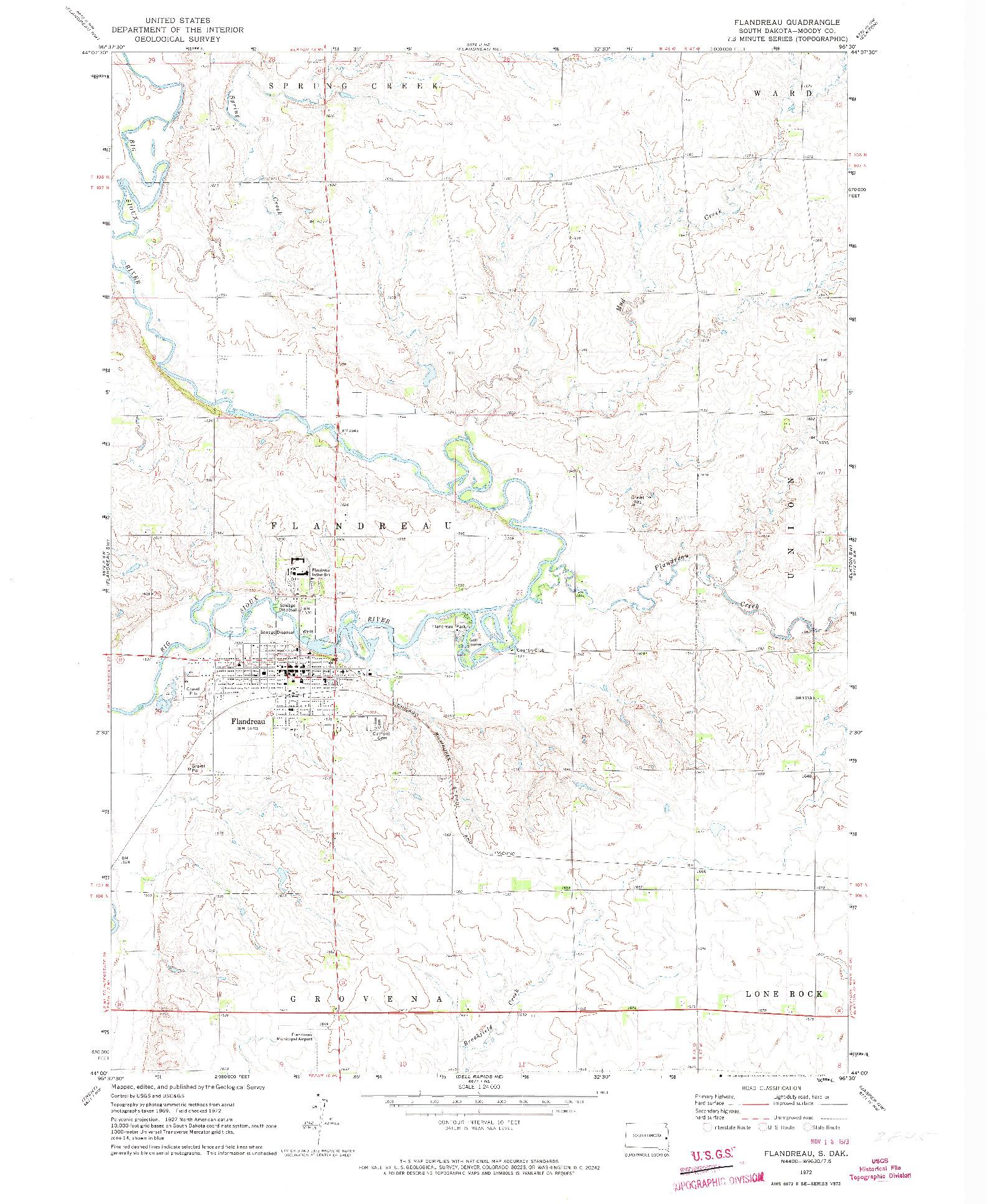 USGS 1:24000-SCALE QUADRANGLE FOR FLANDREAU, SD 1972