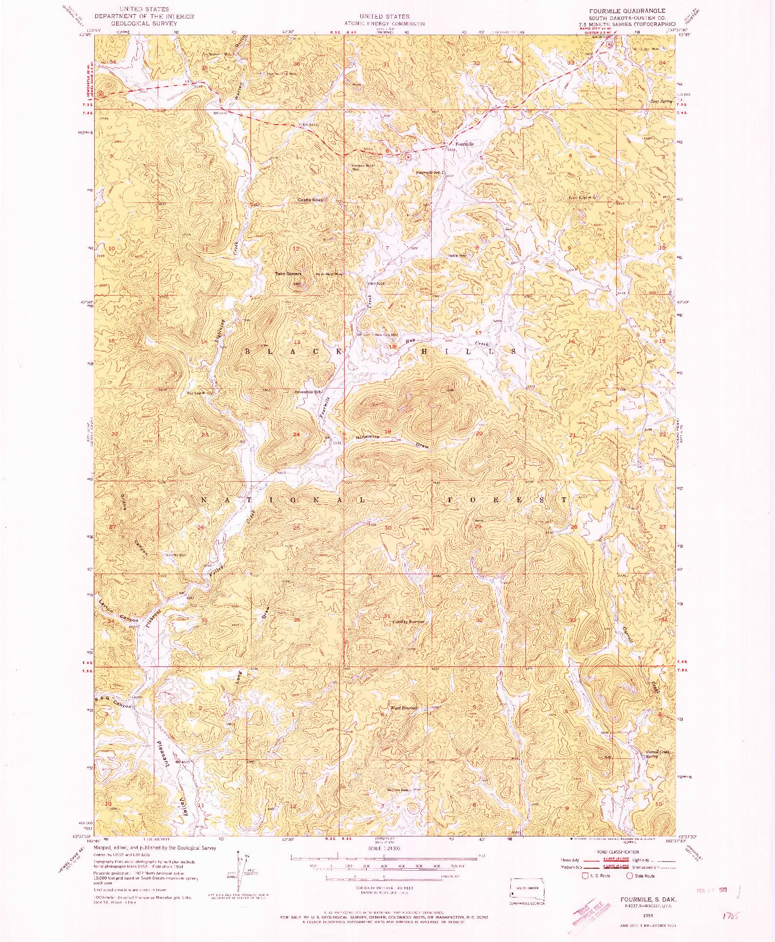 USGS 1:24000-SCALE QUADRANGLE FOR FOURMILE, SD 1954