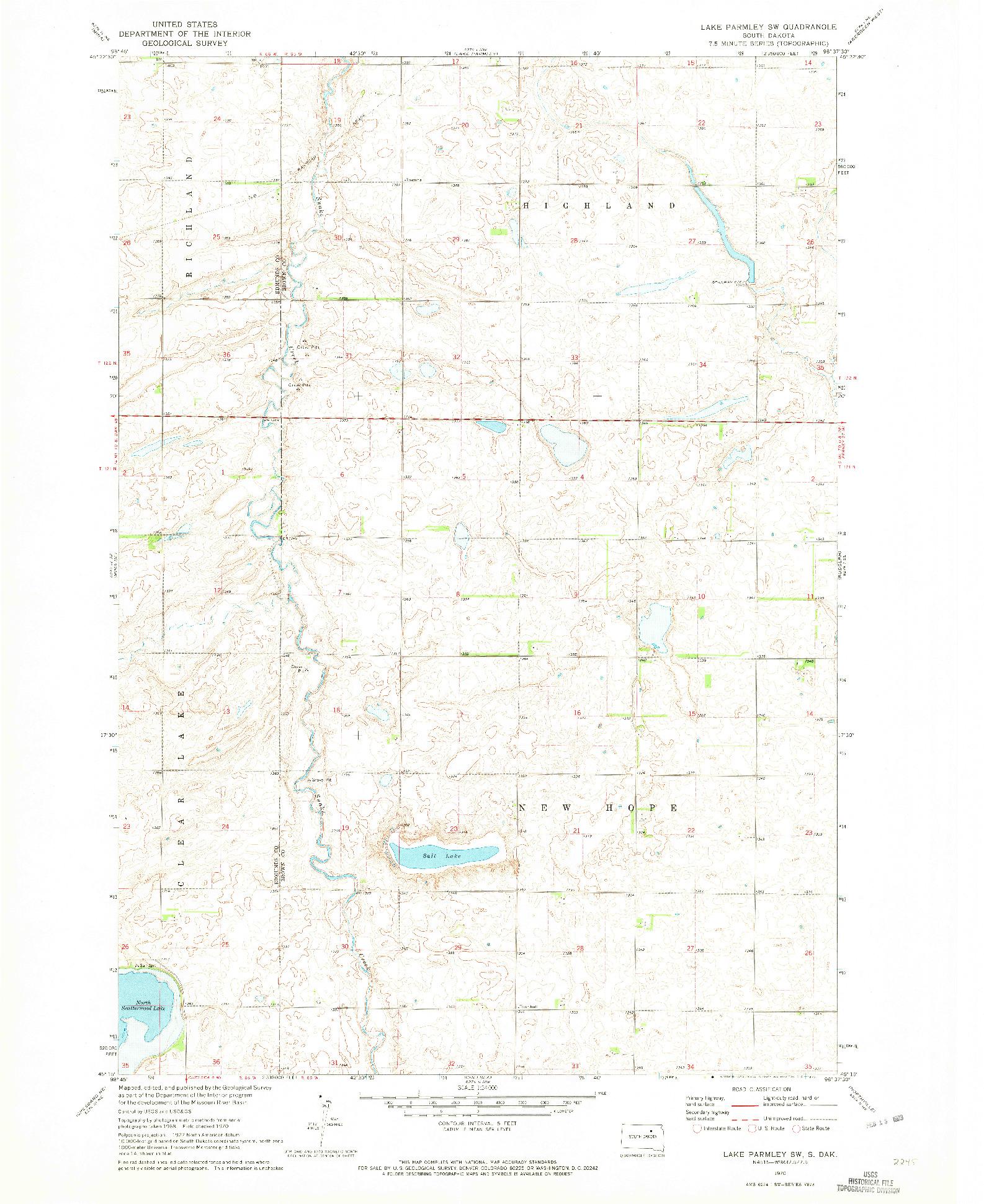 USGS 1:24000-SCALE QUADRANGLE FOR LAKE PARMLEY SW, SD 1970