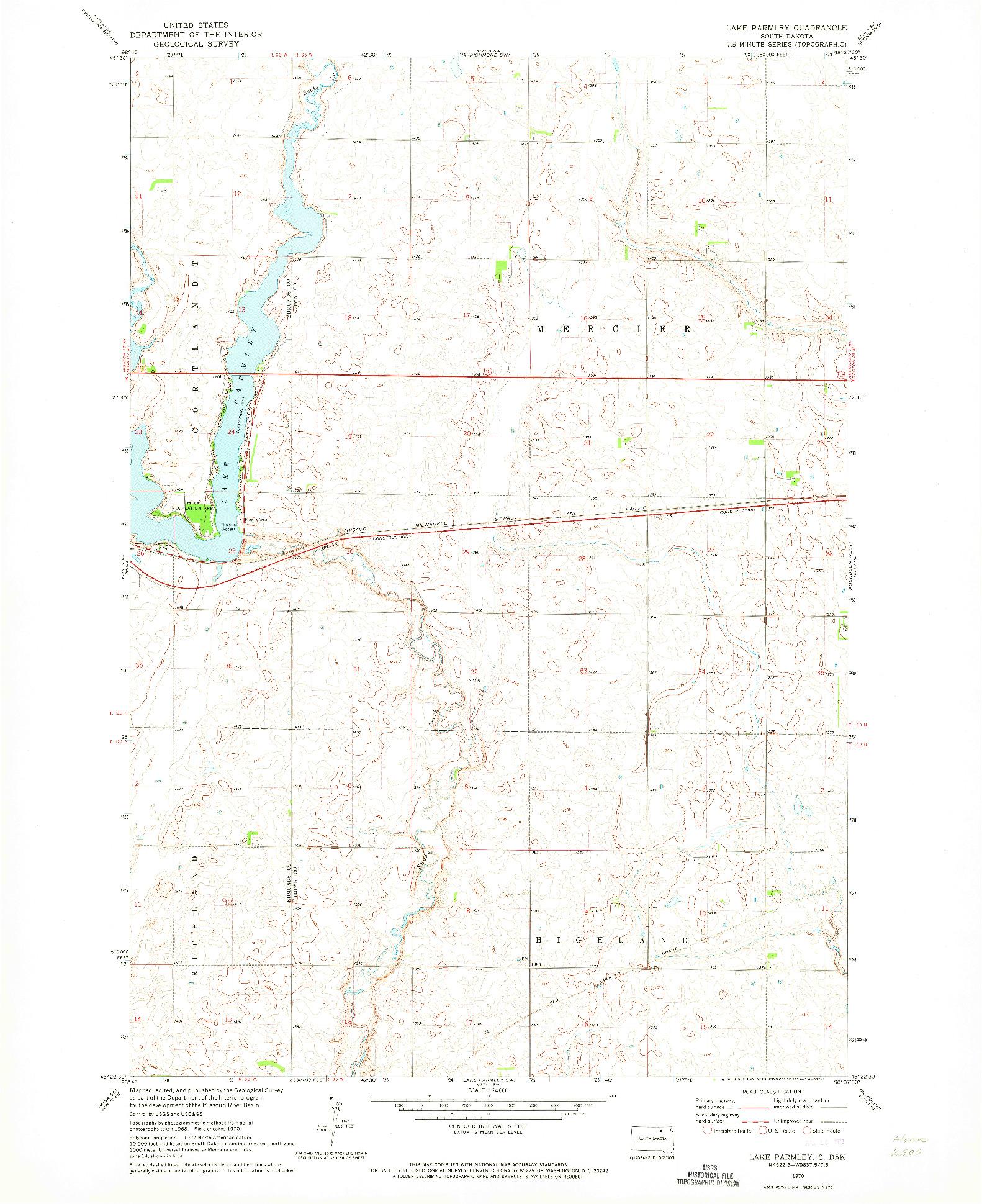 USGS 1:24000-SCALE QUADRANGLE FOR LAKE PARMLEY, SD 1970