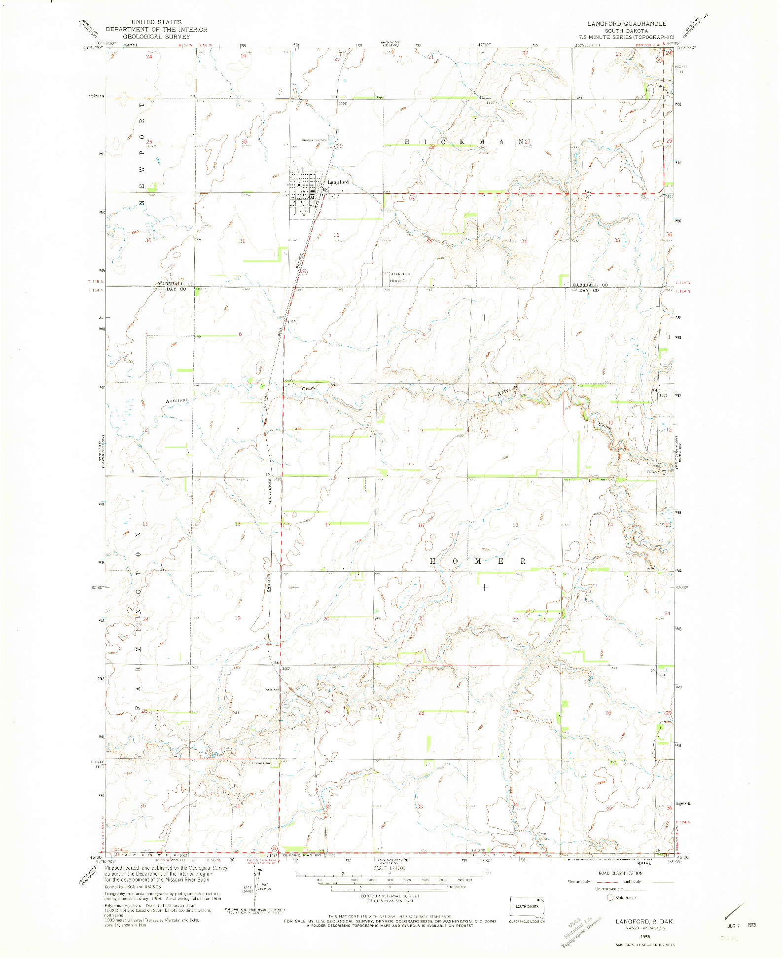 USGS 1:24000-SCALE QUADRANGLE FOR LANGFORD, SD 1958