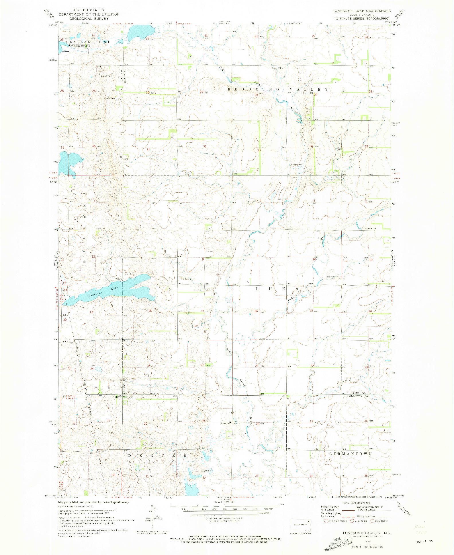 USGS 1:24000-SCALE QUADRANGLE FOR LONESOME LAKE, SD 1970