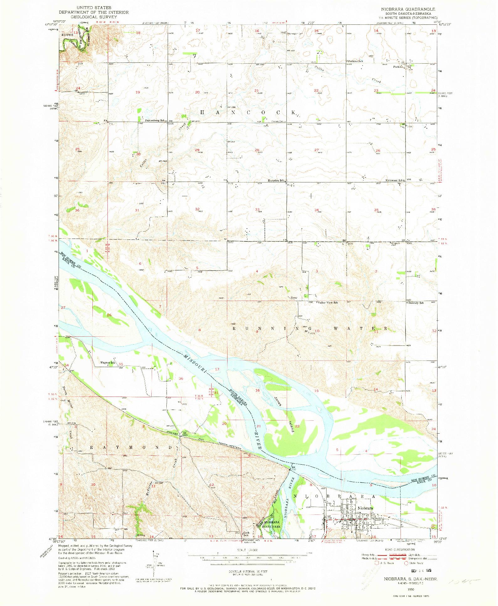 USGS 1:24000-SCALE QUADRANGLE FOR NIOBRARA, SD 1950