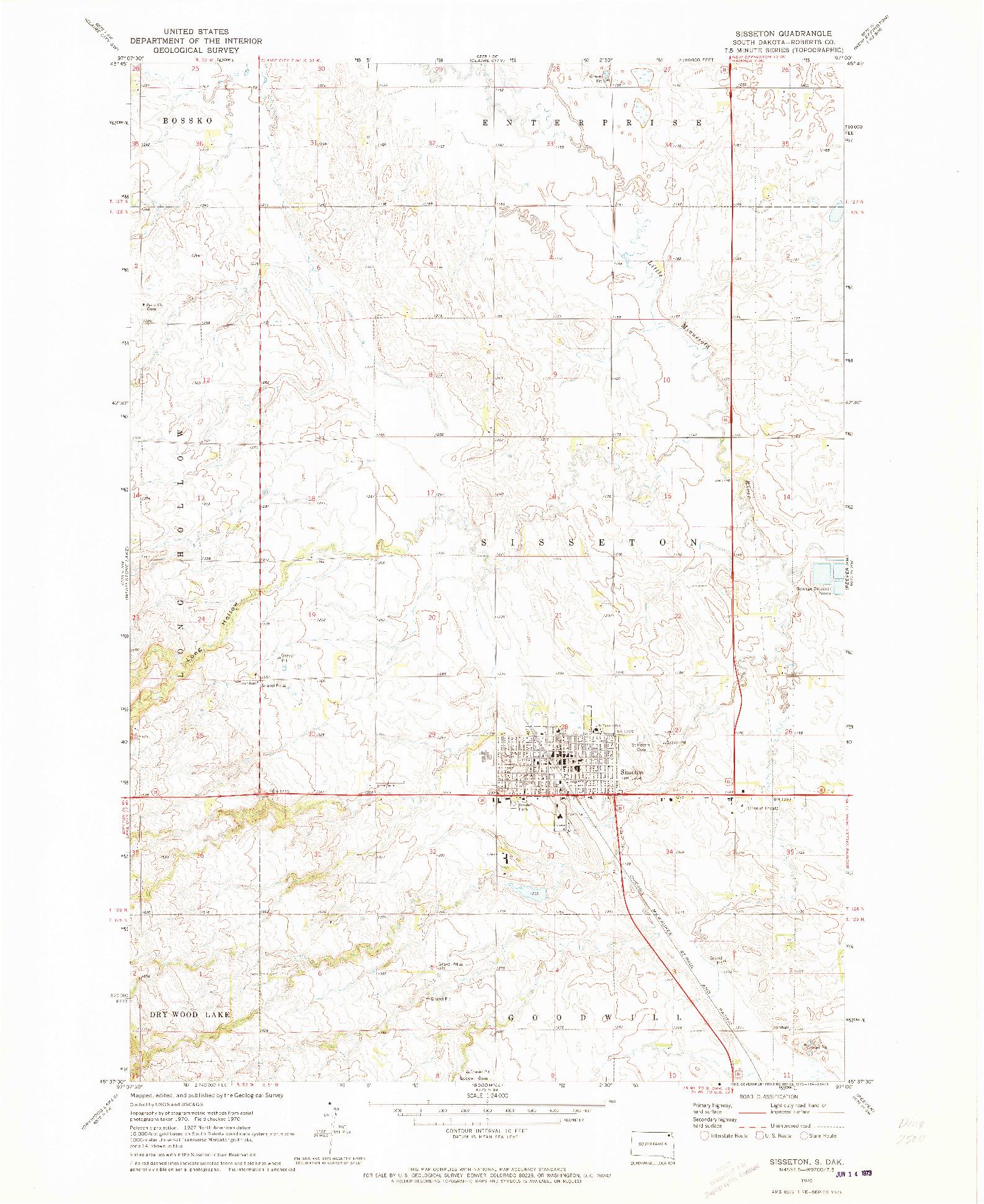 USGS 1:24000-SCALE QUADRANGLE FOR SISSETON, SD 1970