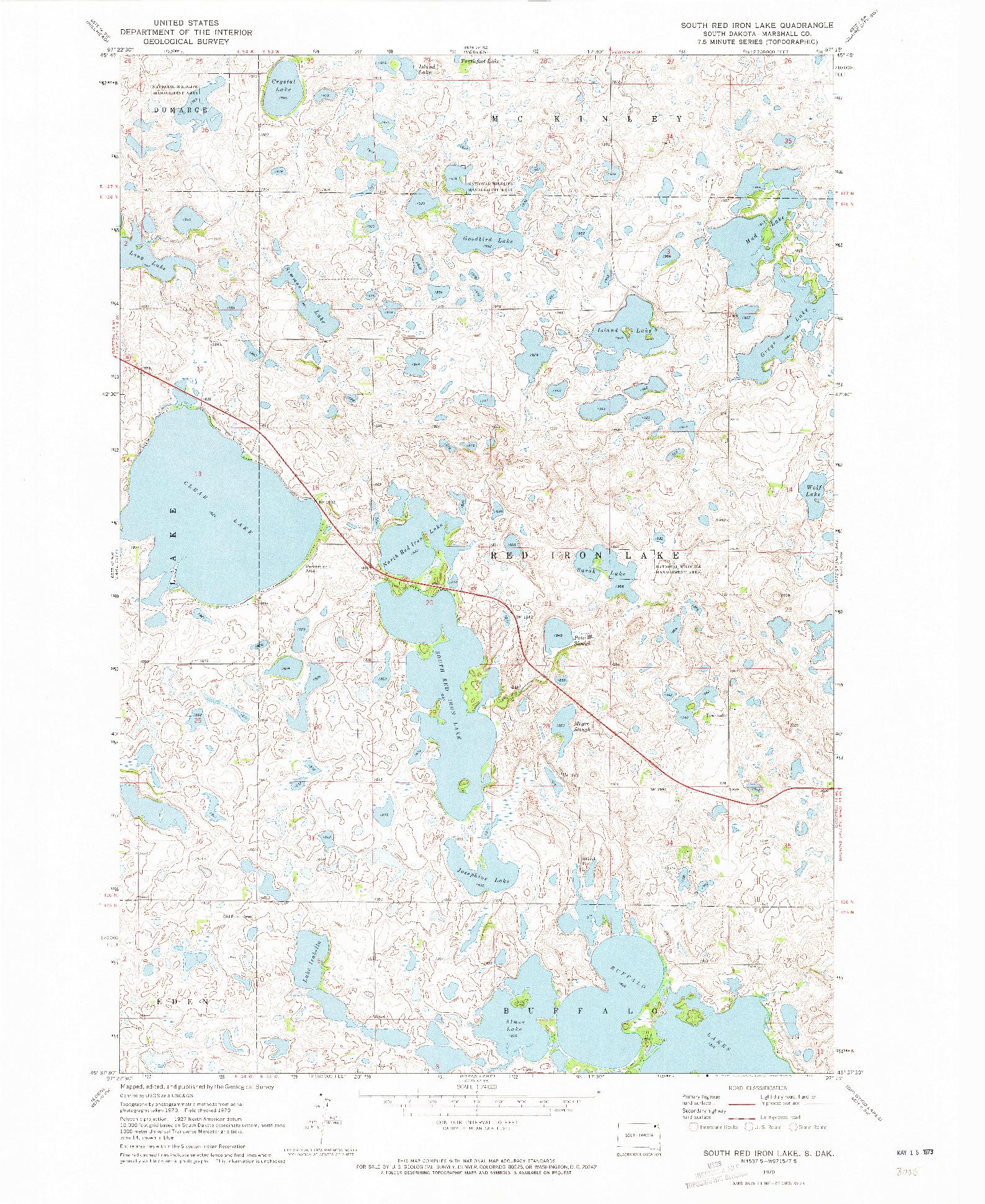 USGS 1:24000-SCALE QUADRANGLE FOR SOUTH RED IRON LAKE, SD 1970