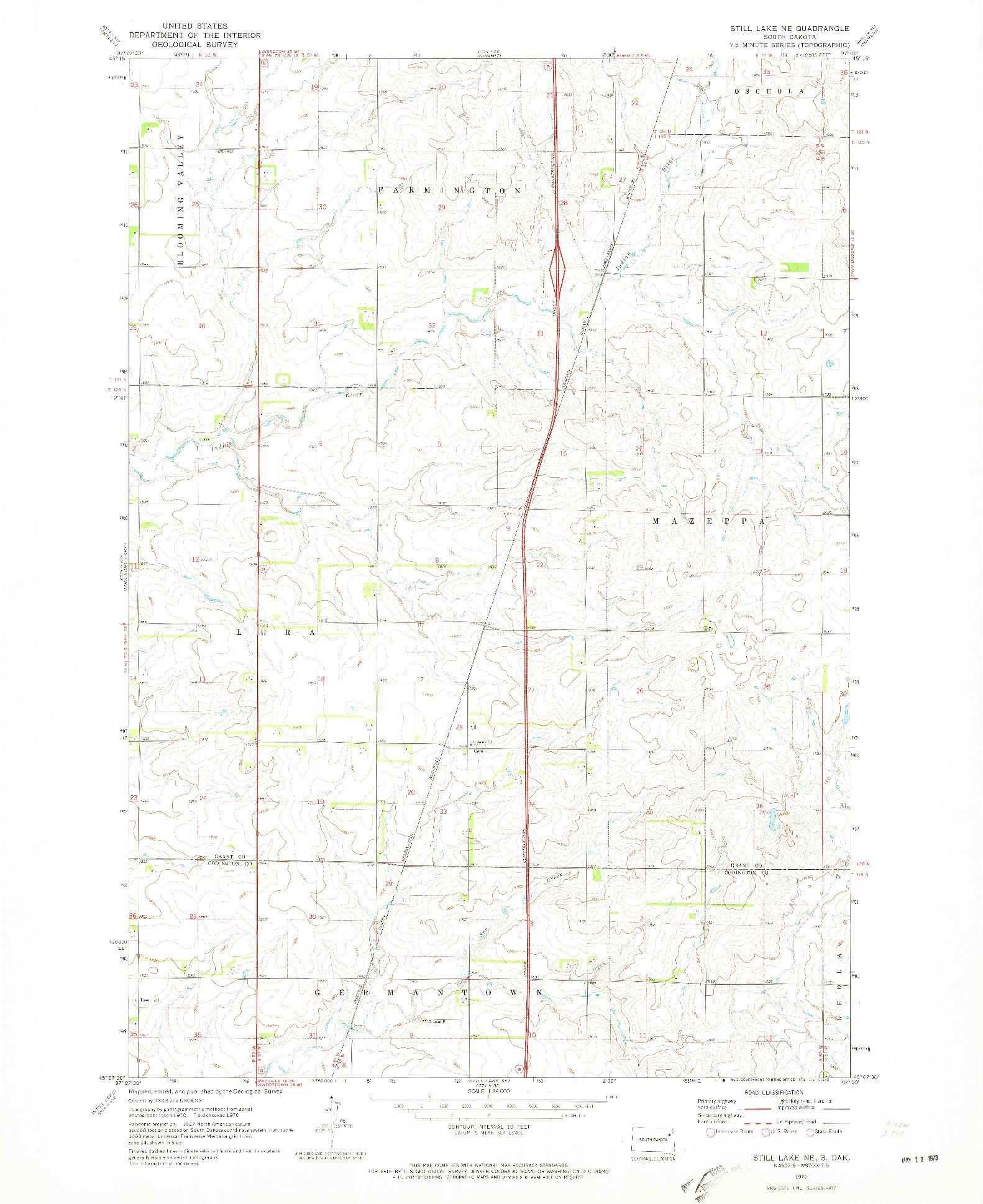 USGS 1:24000-SCALE QUADRANGLE FOR STILL LAKE NE, SD 1970