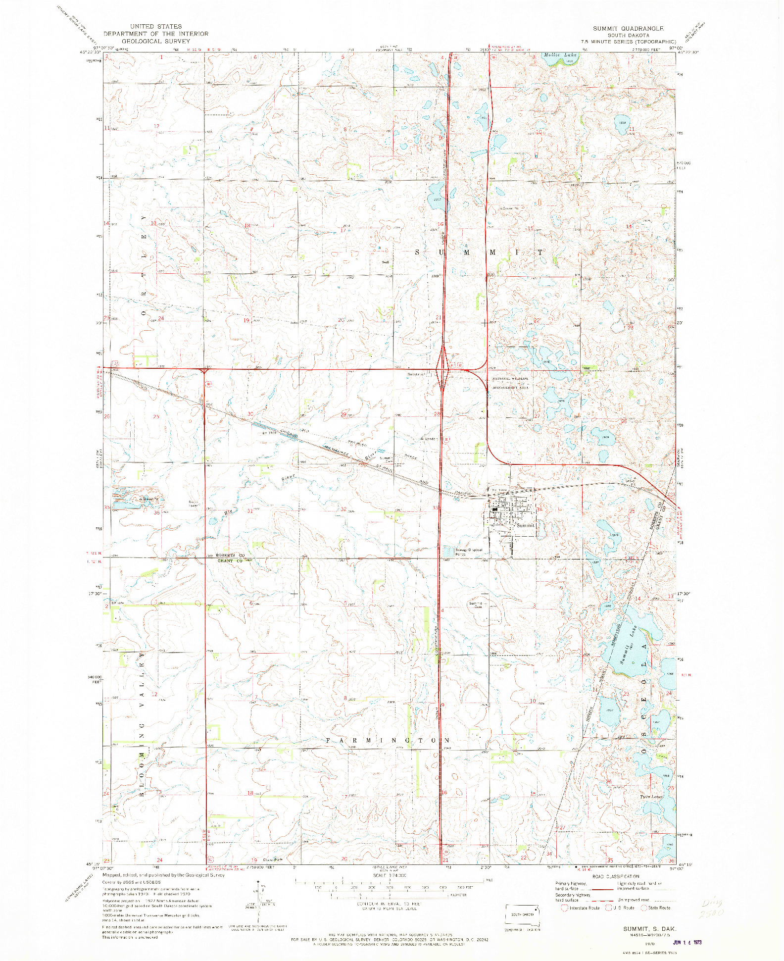 USGS 1:24000-SCALE QUADRANGLE FOR SUMMIT, SD 1970
