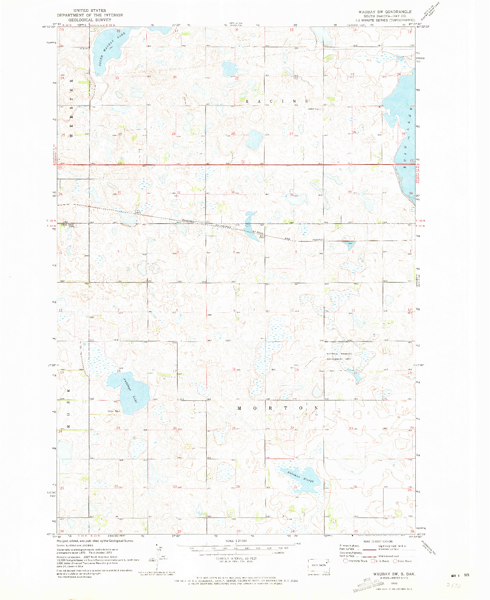 USGS 1:24000-SCALE QUADRANGLE FOR WAUBAY SW, SD 1970
