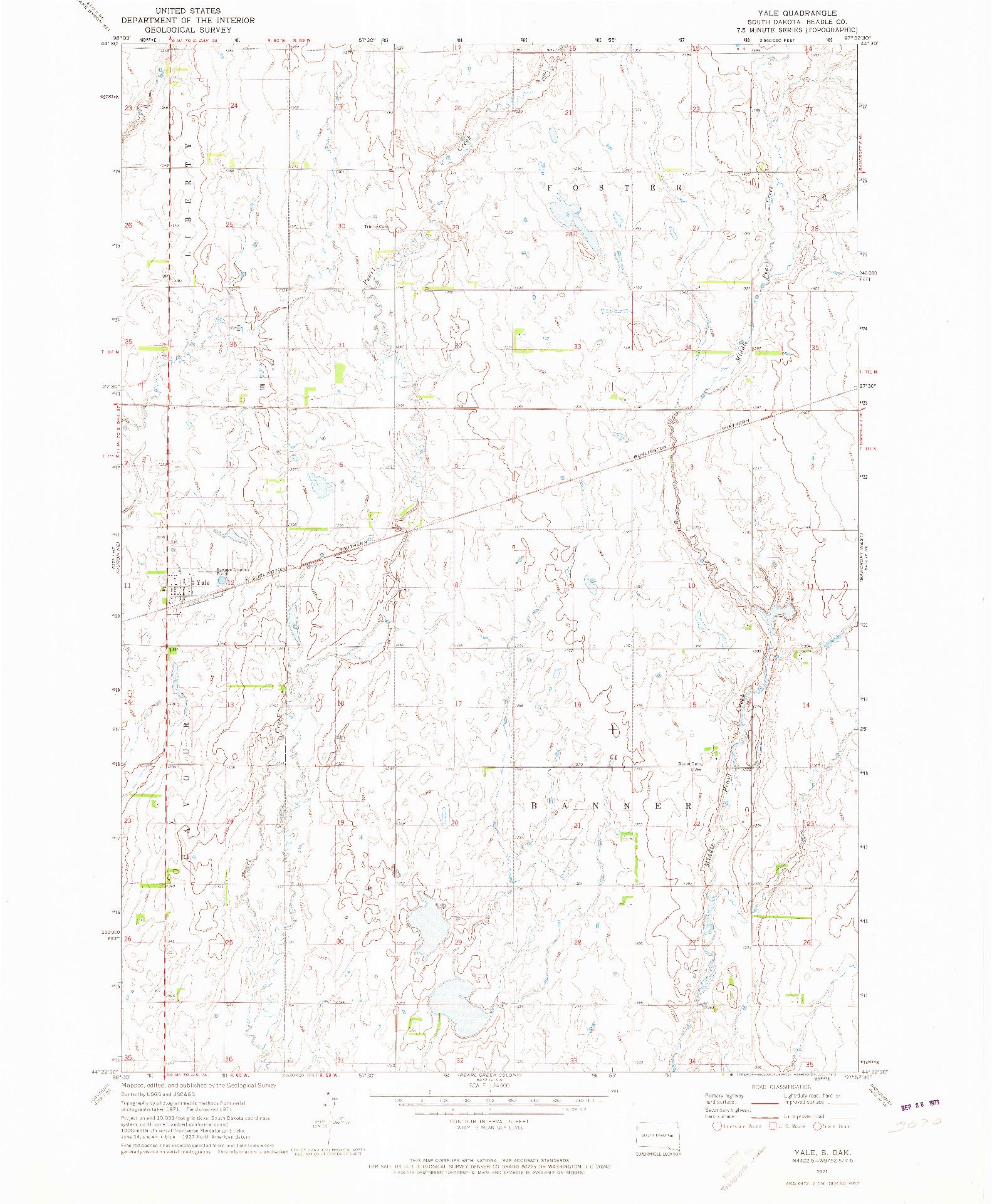 USGS 1:24000-SCALE QUADRANGLE FOR YALE, SD 1971
