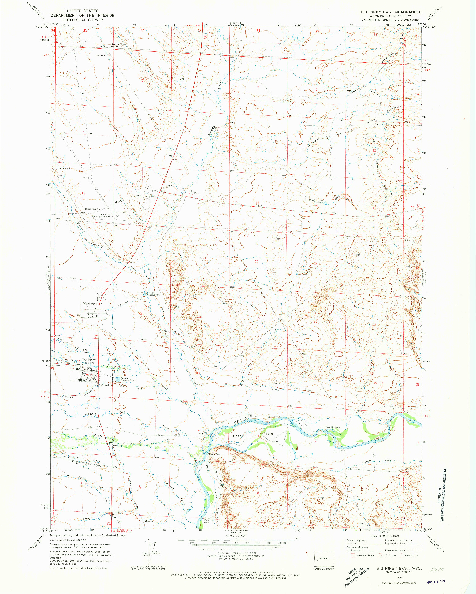 USGS 1:24000-SCALE QUADRANGLE FOR BIG PINEY EAST, WY 1970