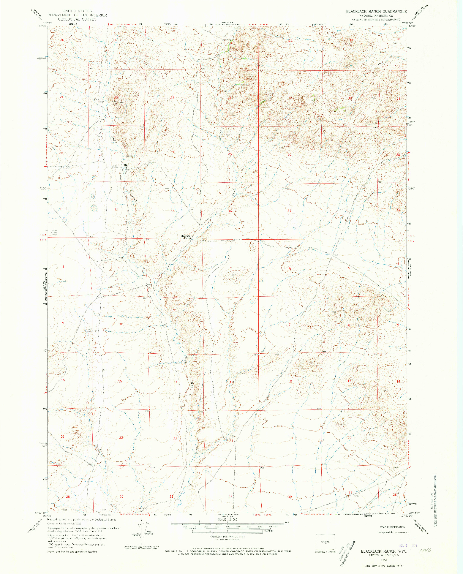 USGS 1:24000-SCALE QUADRANGLE FOR BLACKJACK RANCH, WY 1959