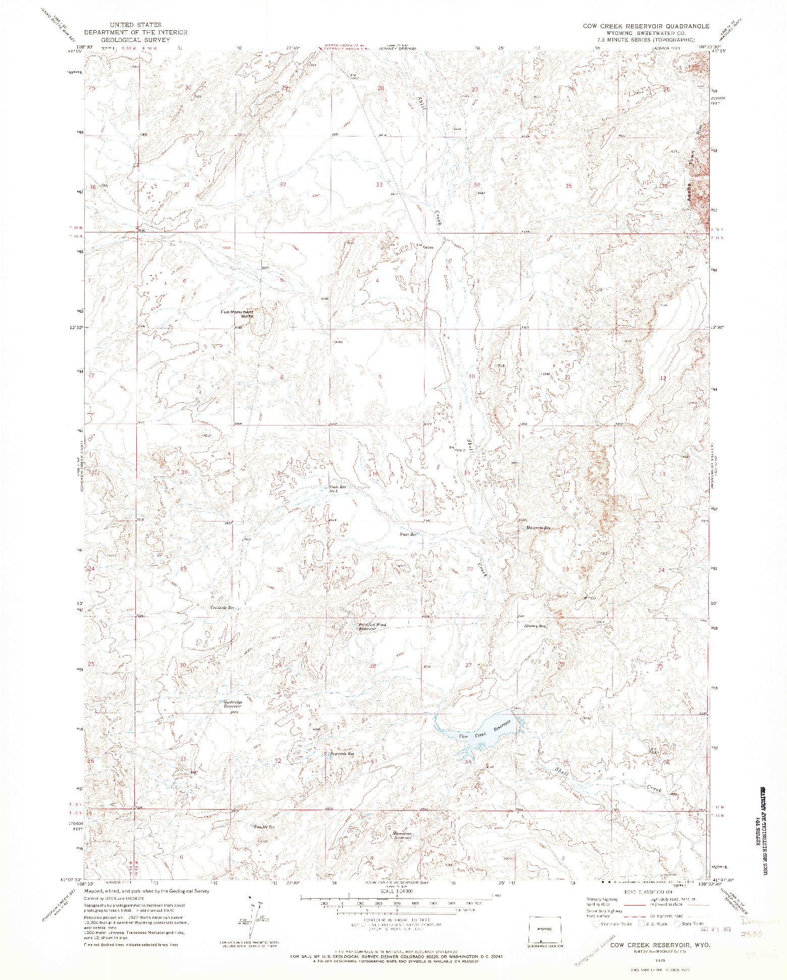 USGS 1:24000-SCALE QUADRANGLE FOR COW CREEK RESERVOIR, WY 1970