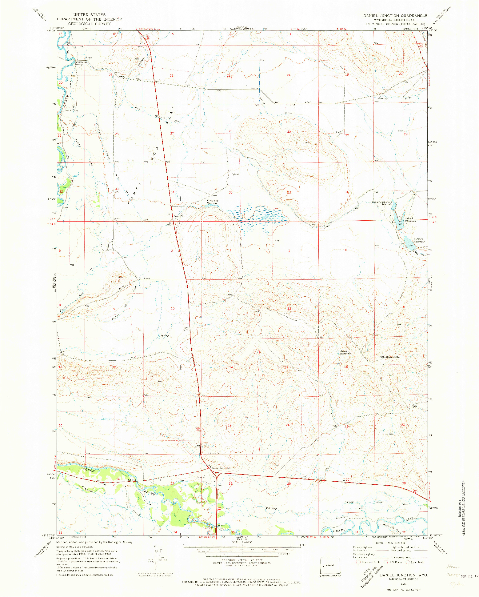 USGS 1:24000-SCALE QUADRANGLE FOR DANIEL JUNCTION, WY 1970