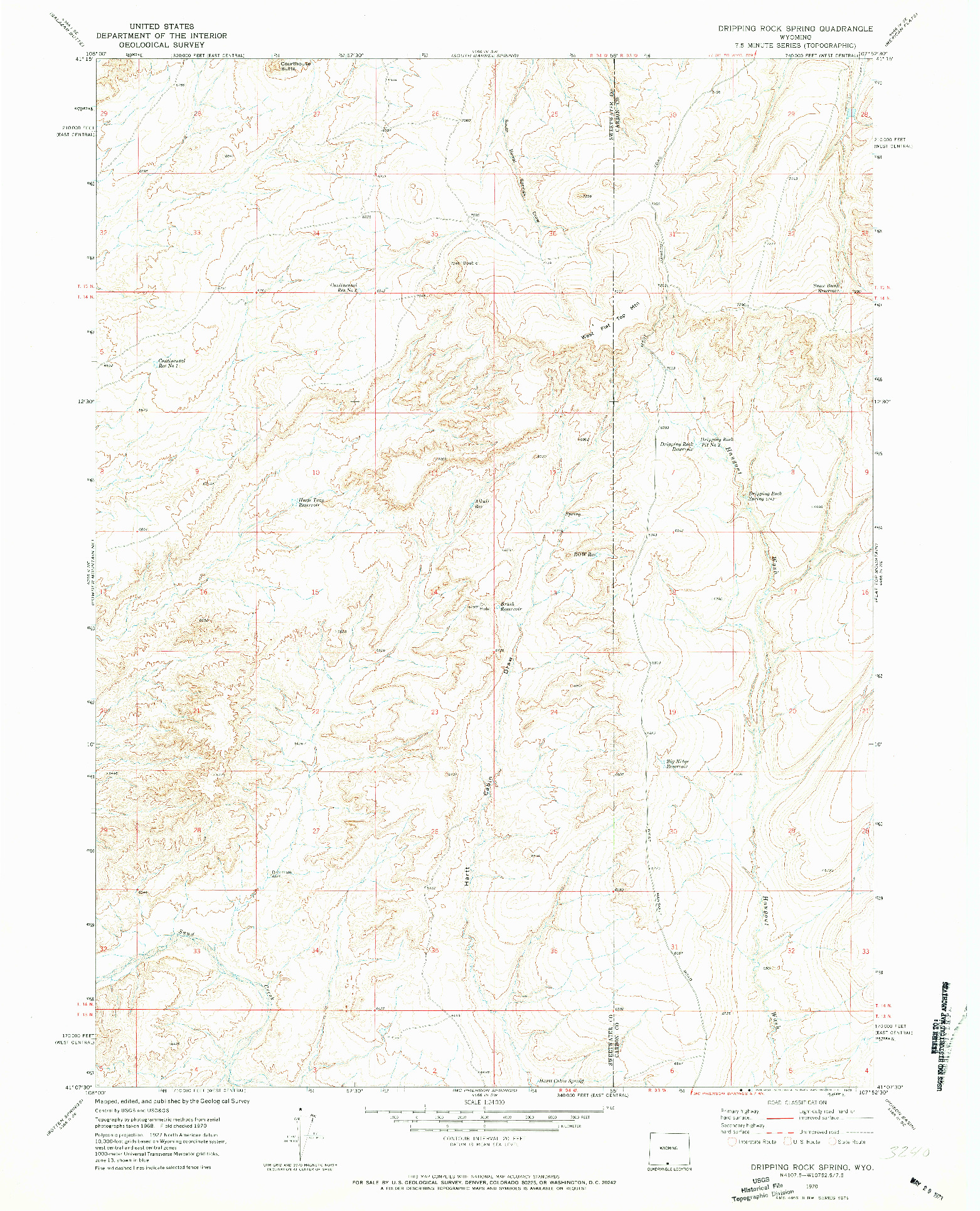 USGS 1:24000-SCALE QUADRANGLE FOR DRIPPING ROCK SPRING, WY 1970