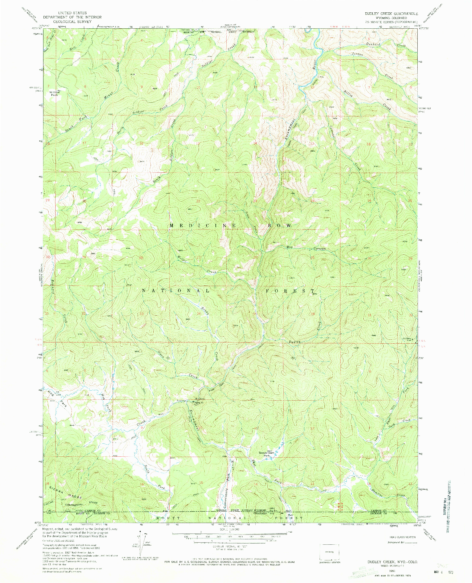 USGS 1:24000-SCALE QUADRANGLE FOR DUDLEY CREEK, WY 1961