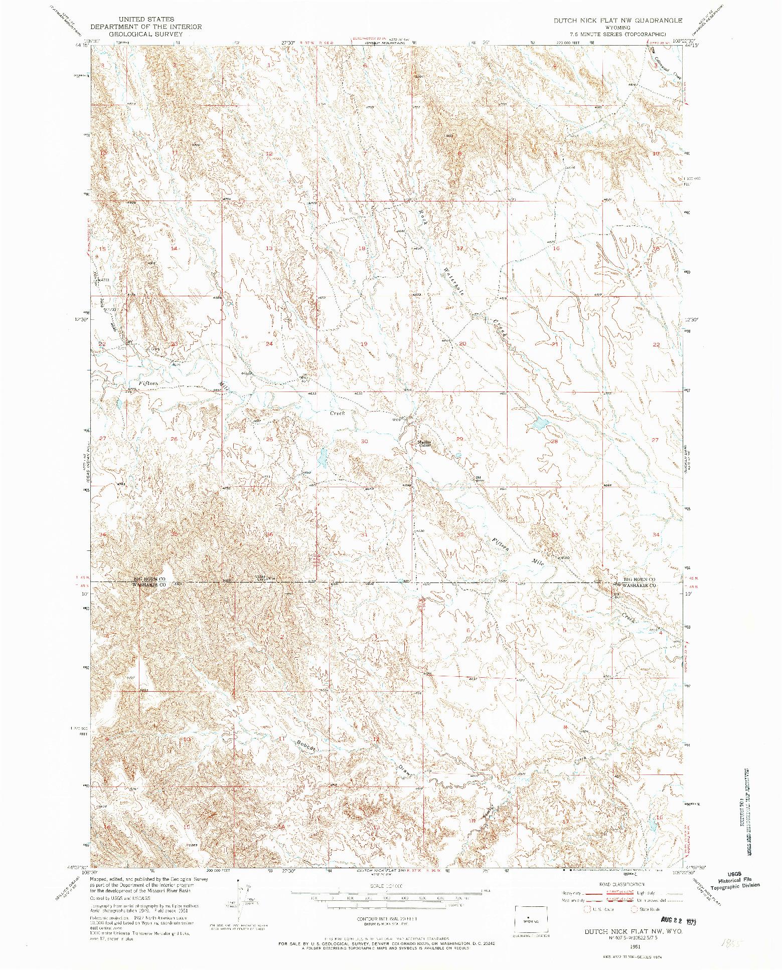 USGS 1:24000-SCALE QUADRANGLE FOR DUTCH NICK FLAT NW, WY 1951