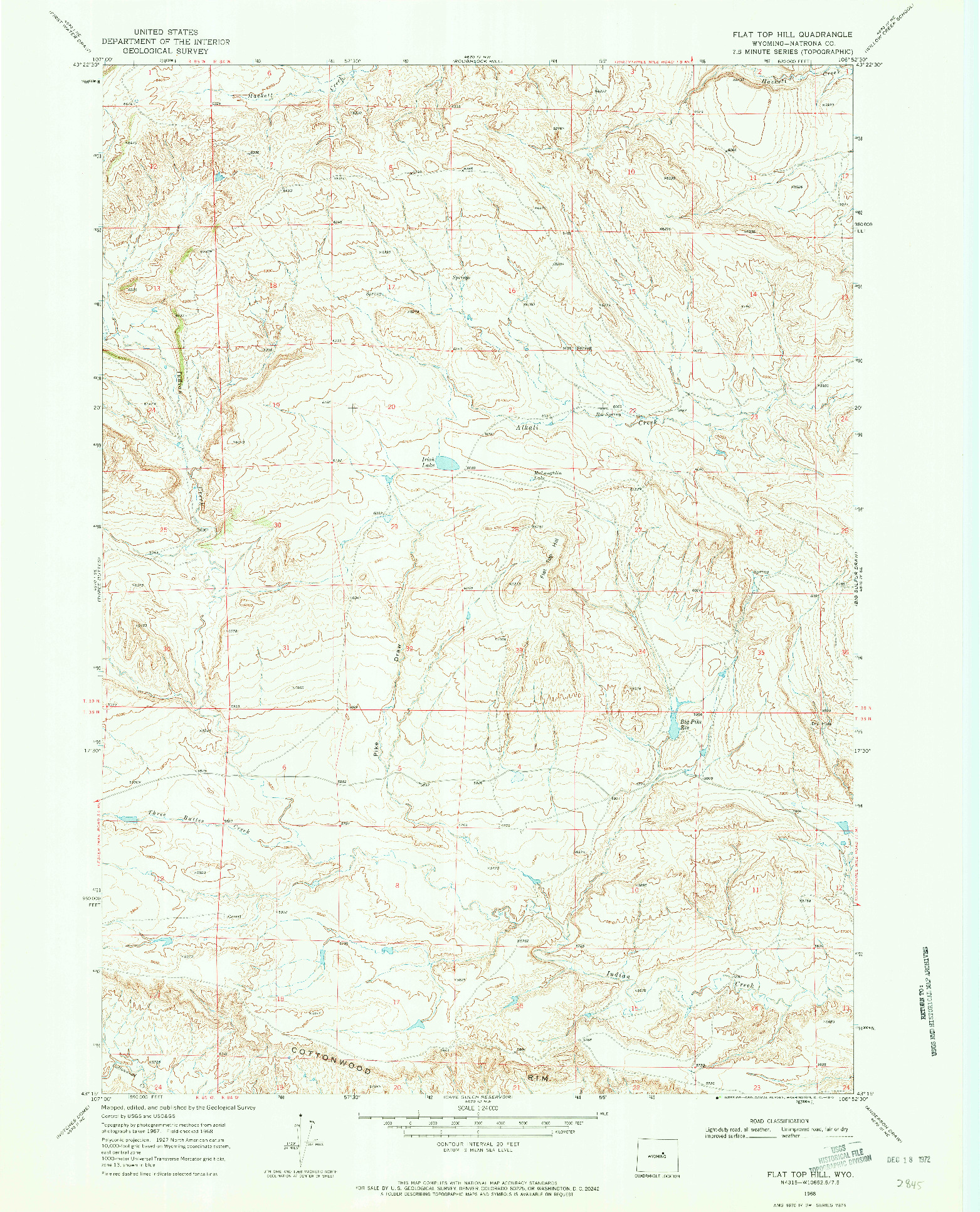 USGS 1:24000-SCALE QUADRANGLE FOR FLAT TOP HILL, WY 1968