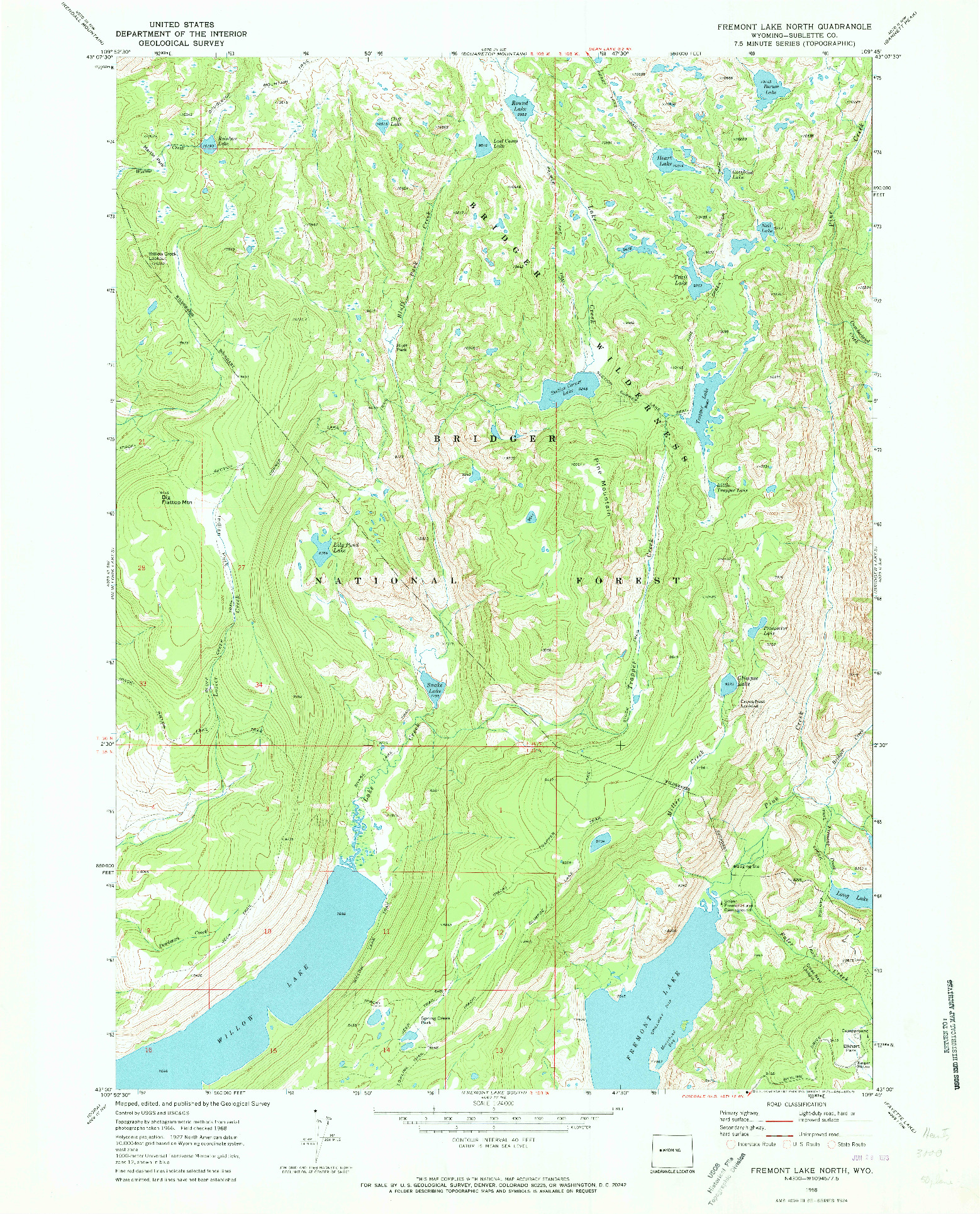 USGS 1:24000-SCALE QUADRANGLE FOR FREMONT LAKE NORTH, WY 1968