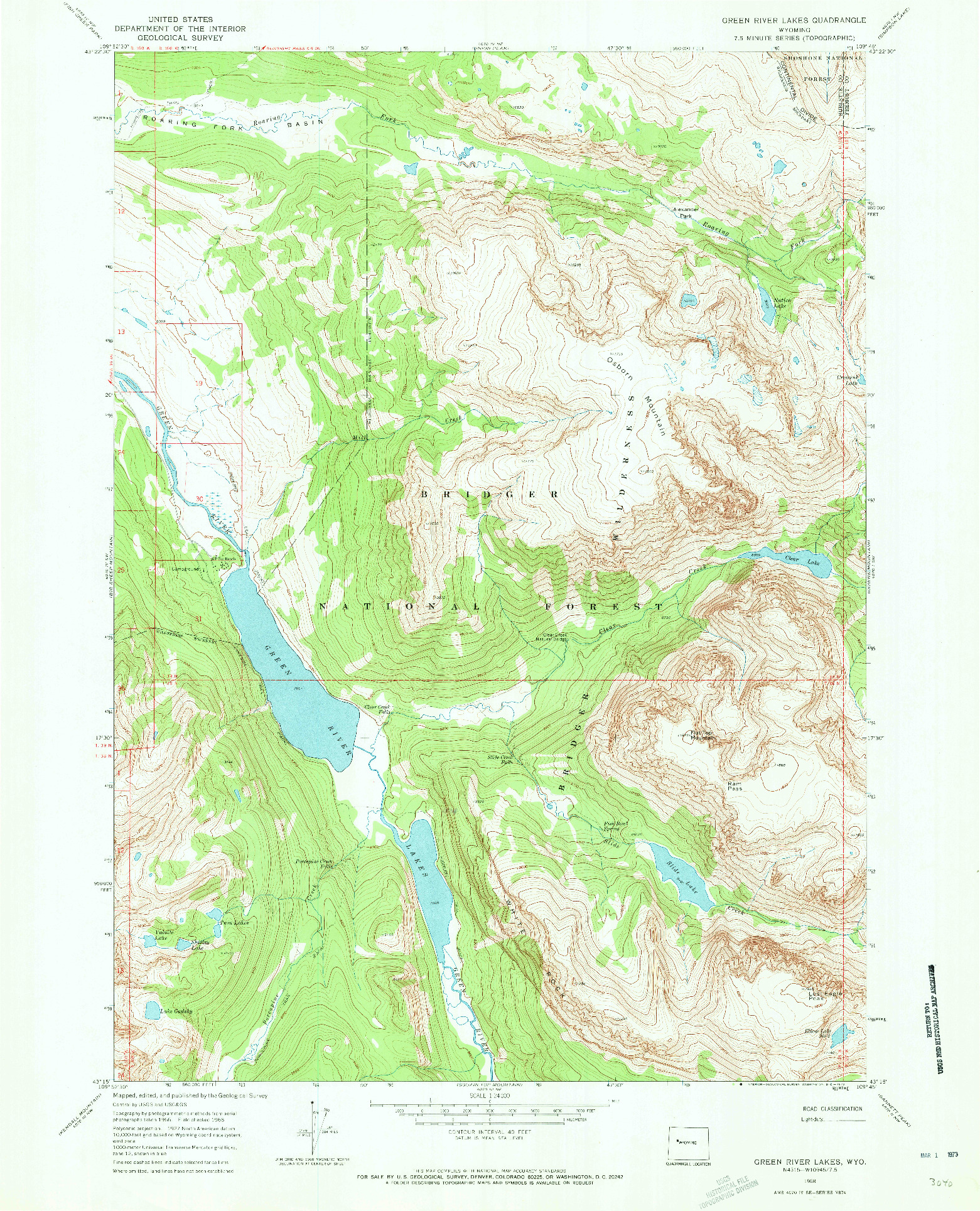 USGS 1:24000-SCALE QUADRANGLE FOR GREEN RIVER LAKES, WY 1968