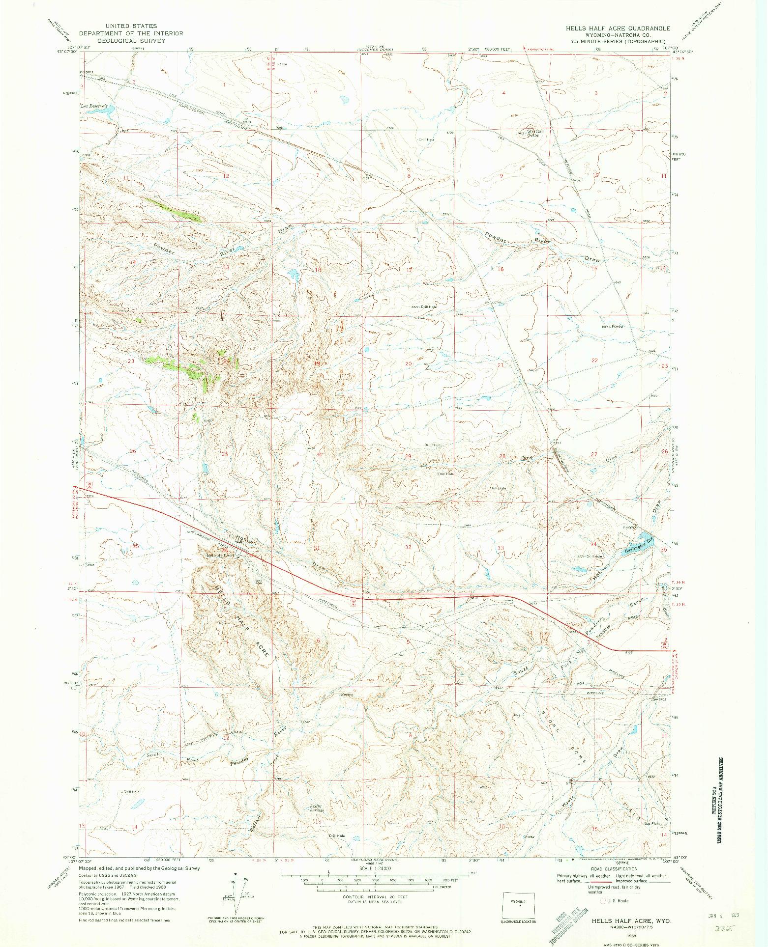 USGS 1:24000-SCALE QUADRANGLE FOR HELLS HALF ACRE, WY 1968