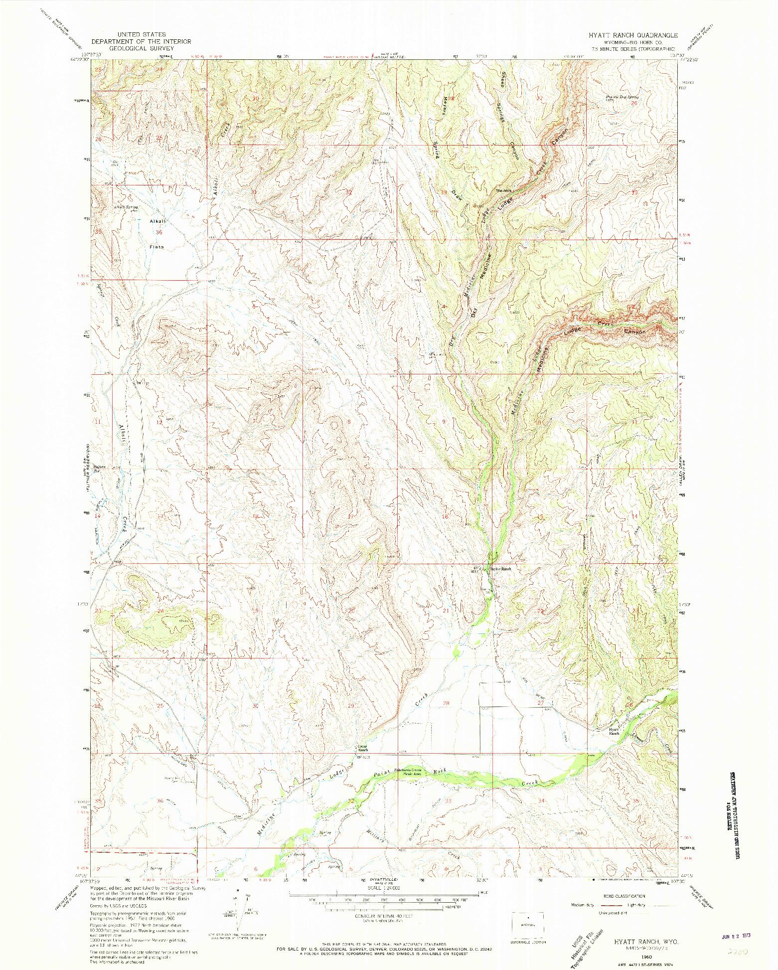 USGS 1:24000-SCALE QUADRANGLE FOR HYATT RANCH, WY 1960