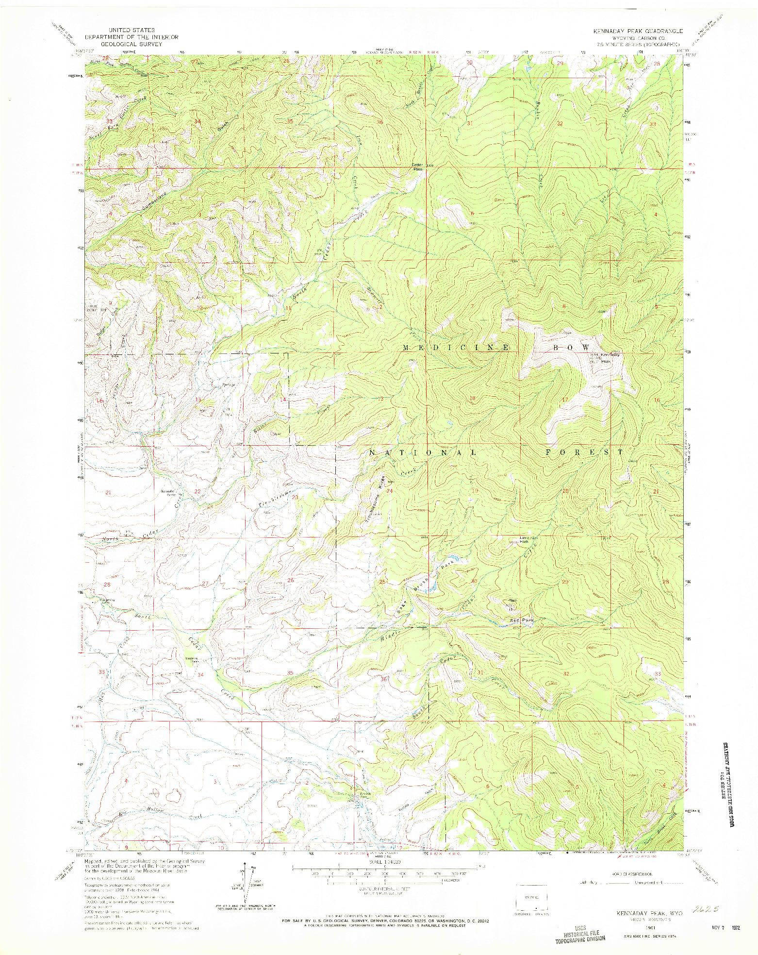 USGS 1:24000-SCALE QUADRANGLE FOR KENNADAY PEAK, WY 1961
