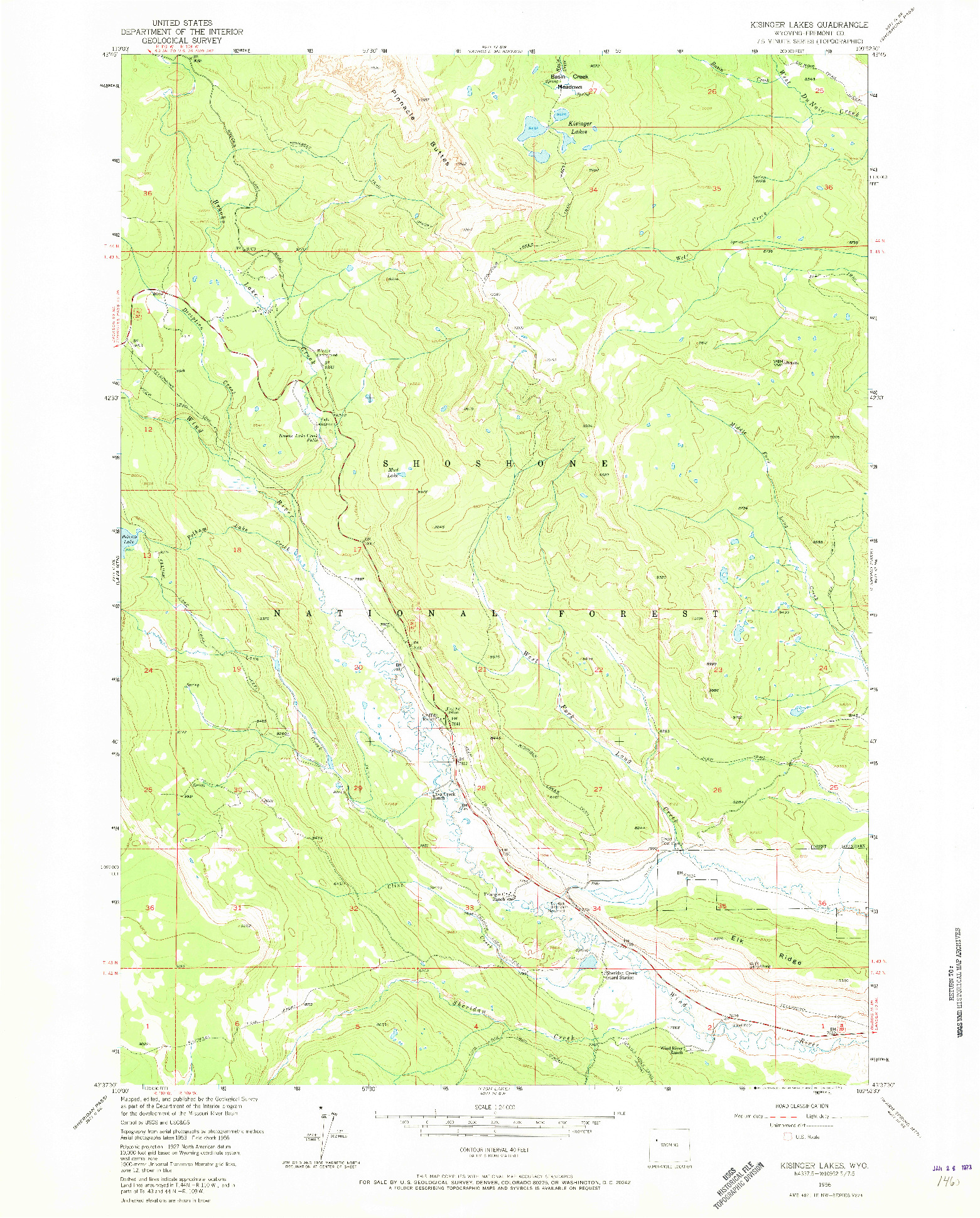 USGS 1:24000-SCALE QUADRANGLE FOR KISINGER LAKES, WY 1956