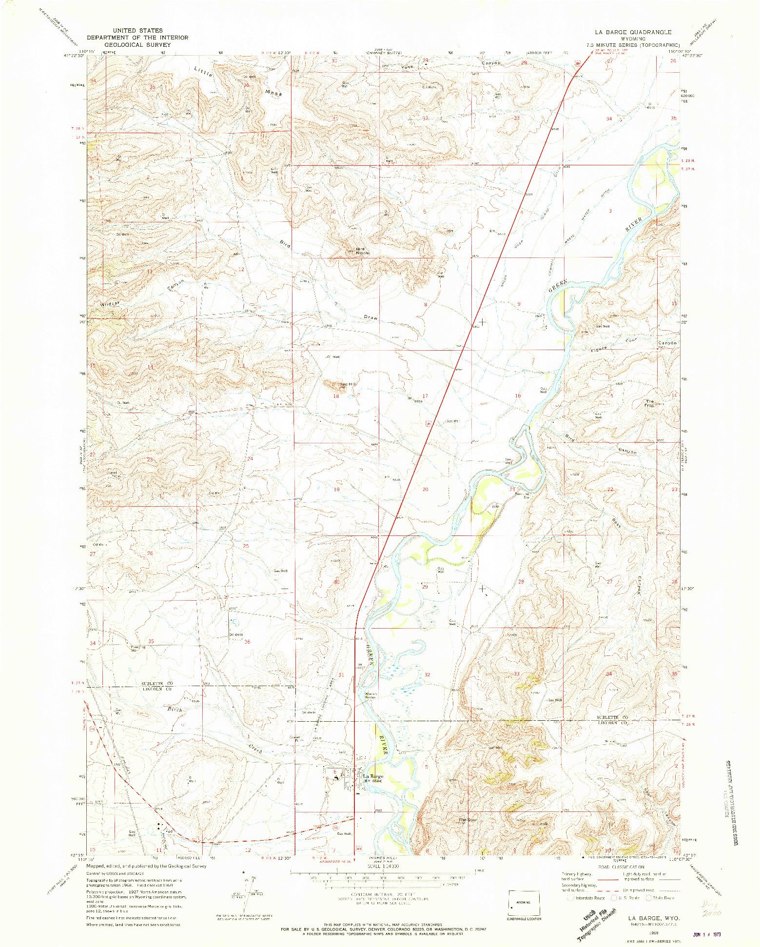 USGS 1:24000-SCALE QUADRANGLE FOR LA BARGE, WY 1969