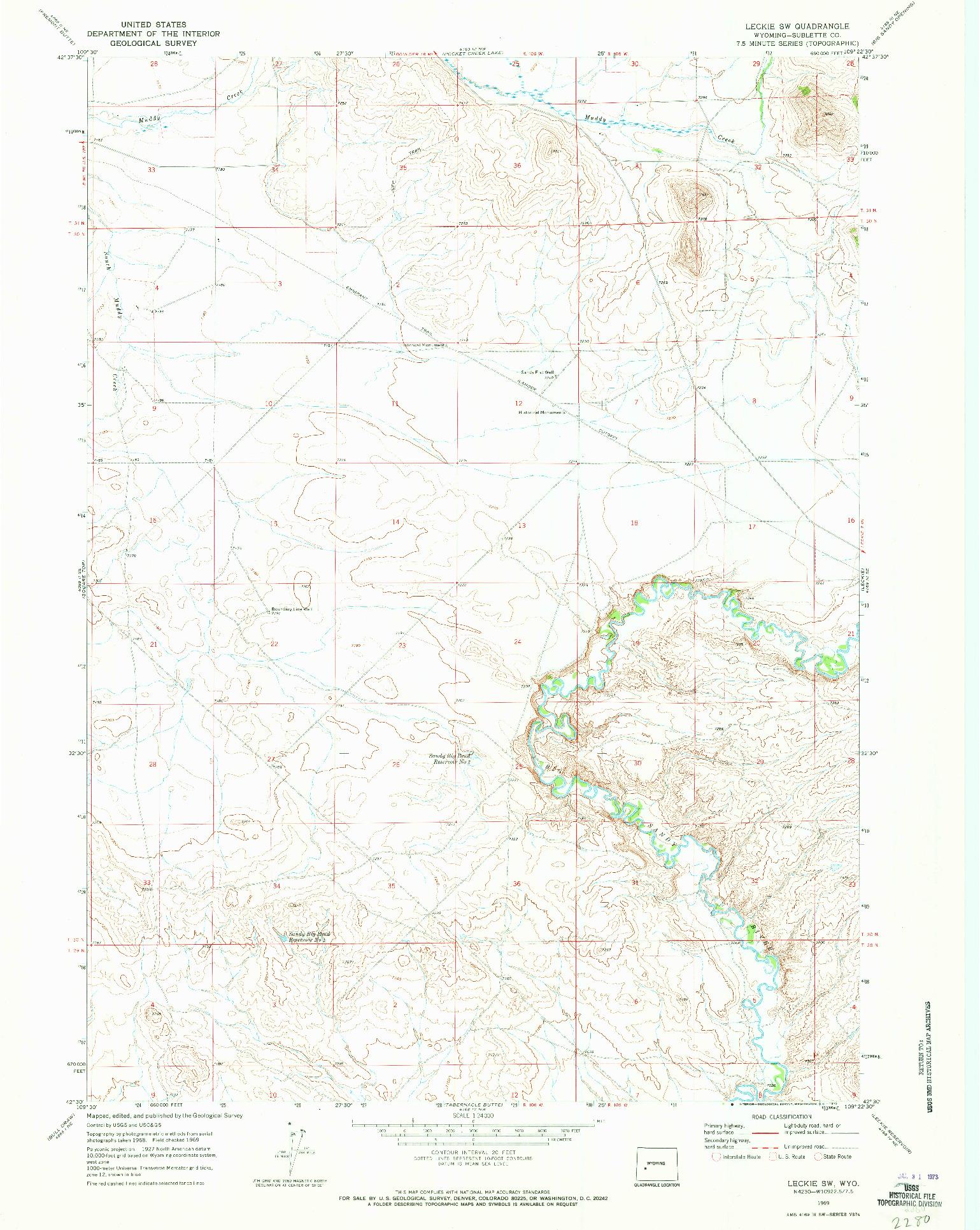 USGS 1:24000-SCALE QUADRANGLE FOR LECKIE SW, WY 1969
