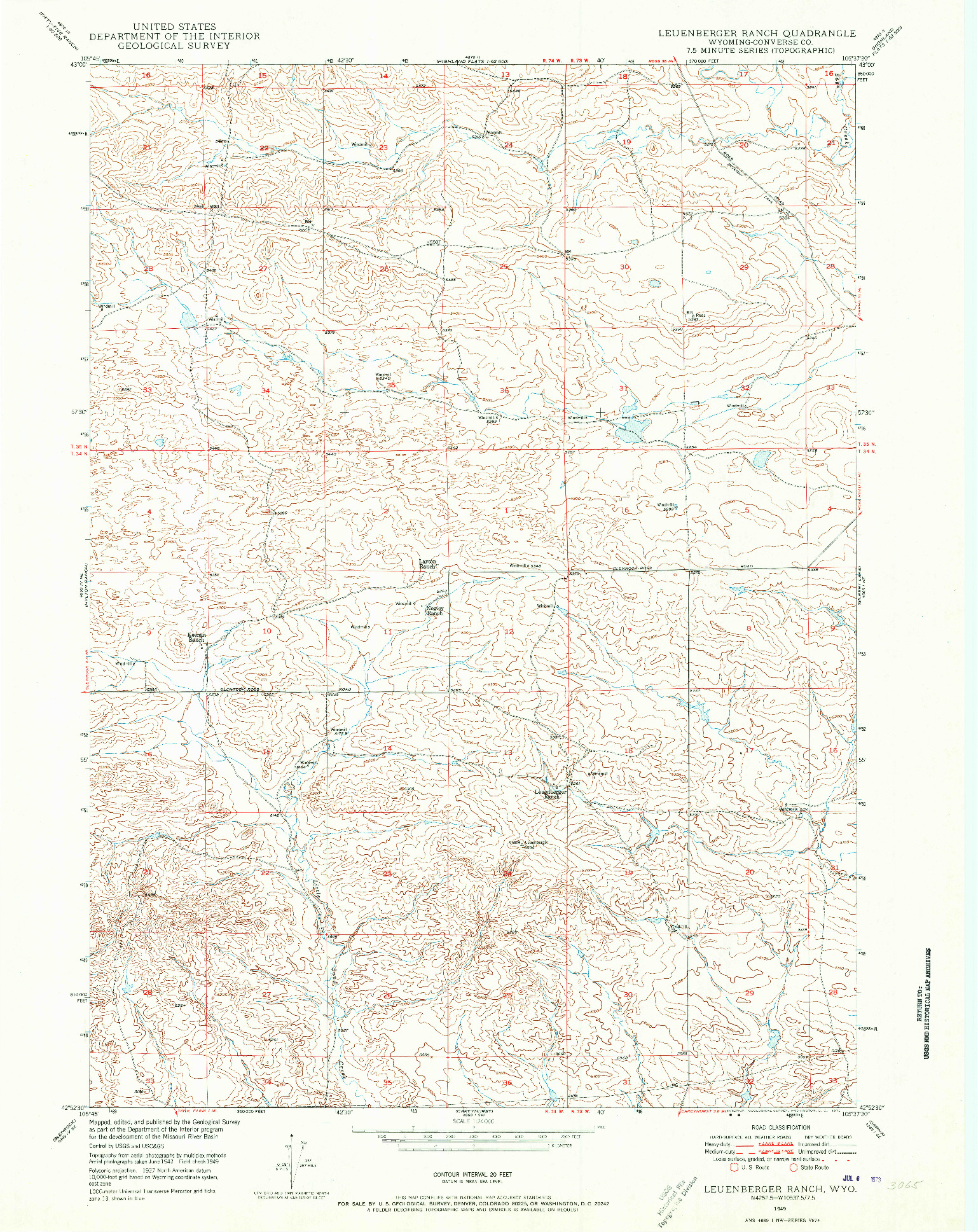 USGS 1:24000-SCALE QUADRANGLE FOR LEUENBERGER RANCH, WY 1949