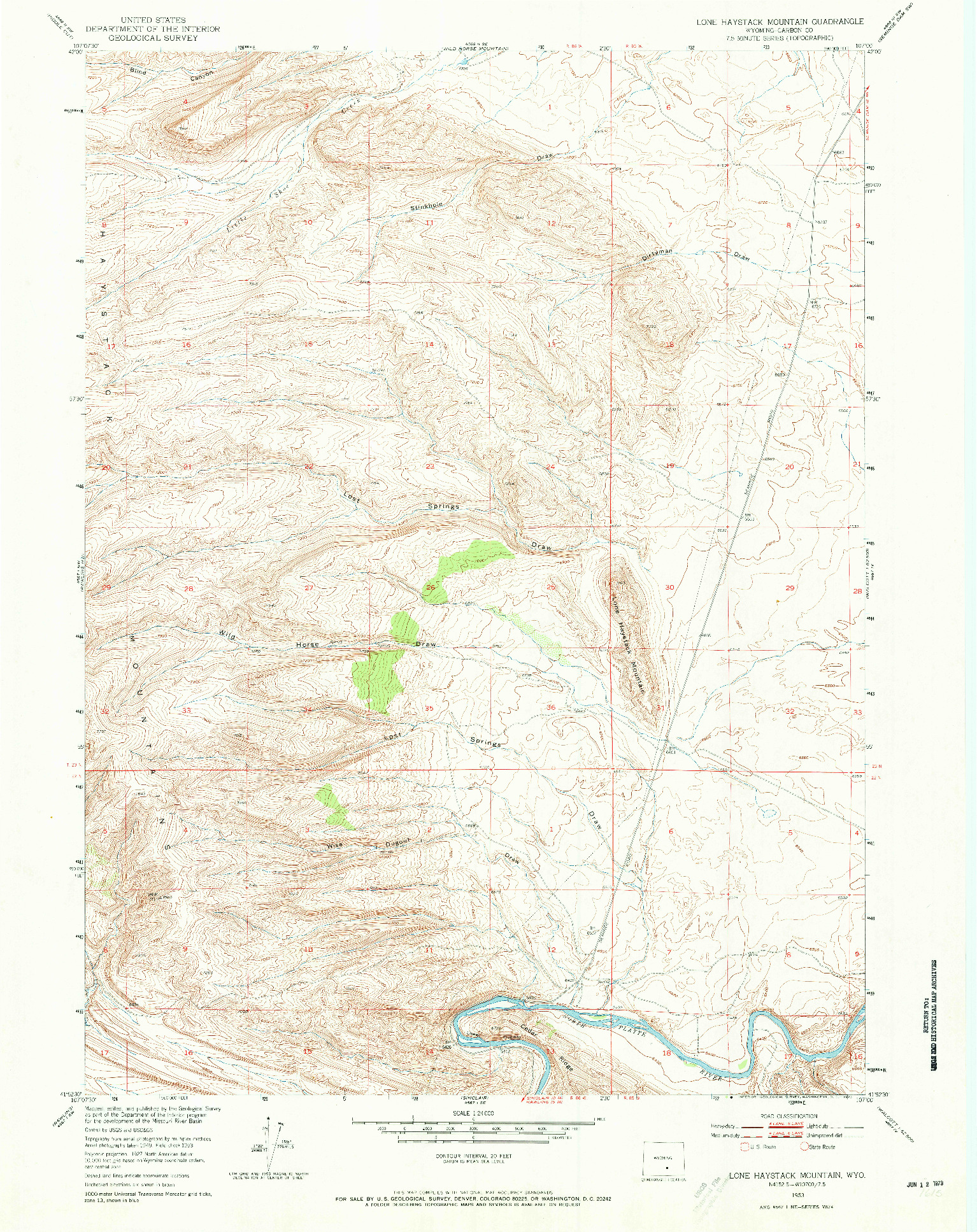 USGS 1:24000-SCALE QUADRANGLE FOR LONE HAYSTACK MOUNTAIN, WY 1953