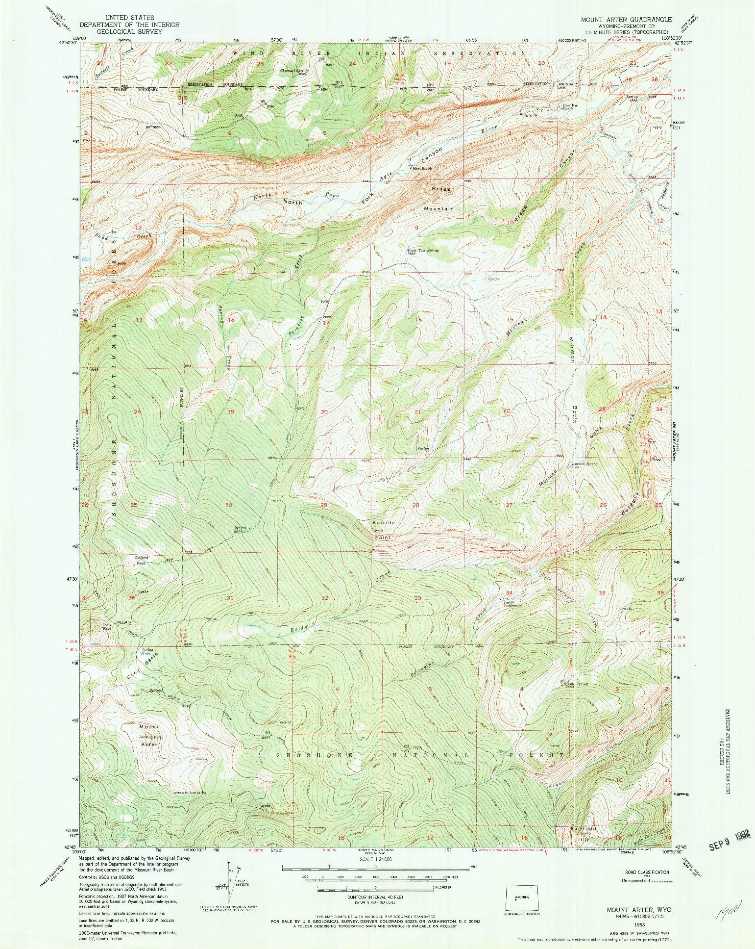 USGS 1:24000-SCALE QUADRANGLE FOR MOUNT ARTER, WY 1953