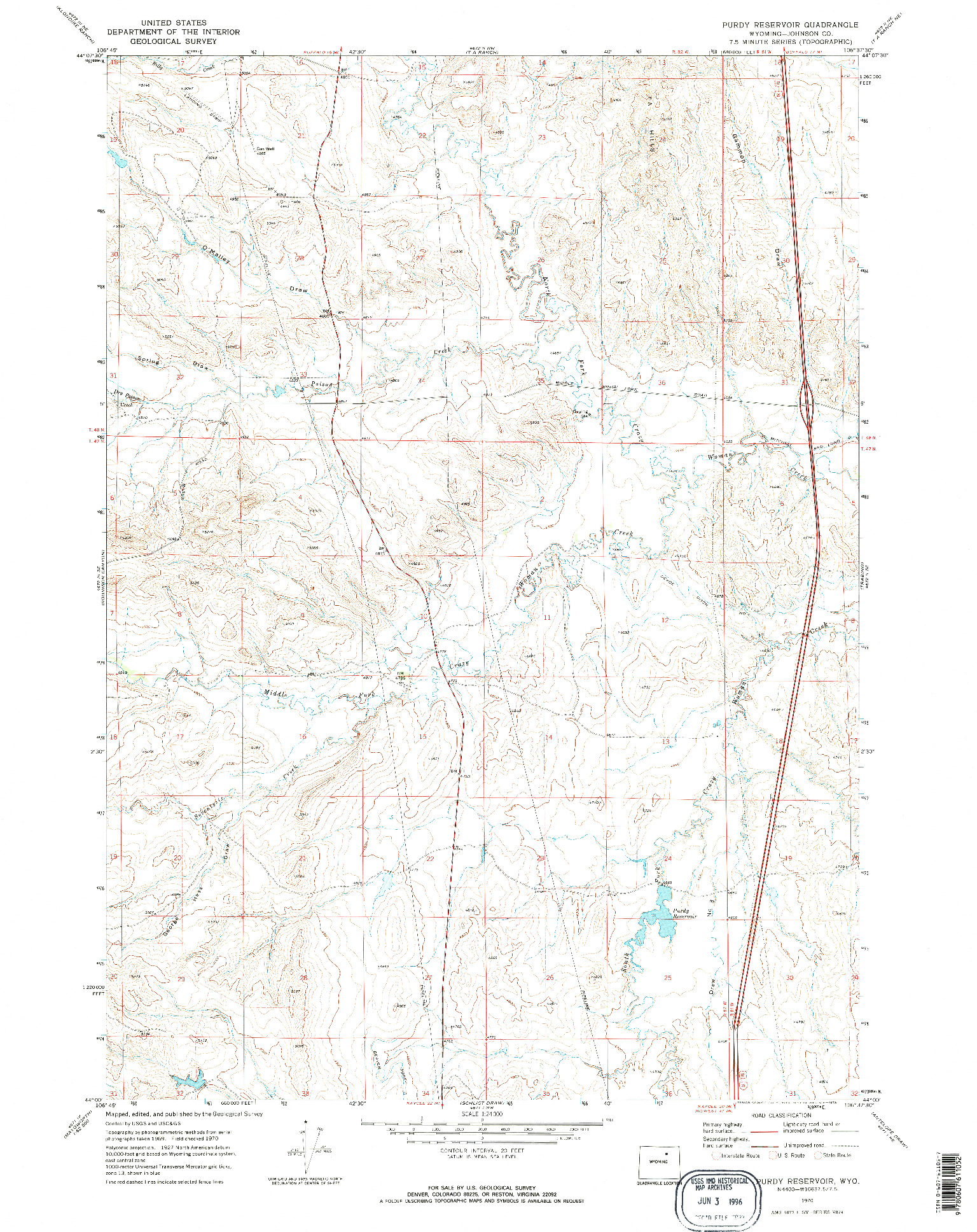 USGS 1:24000-SCALE QUADRANGLE FOR PURDY RESERVOIR, WY 1970