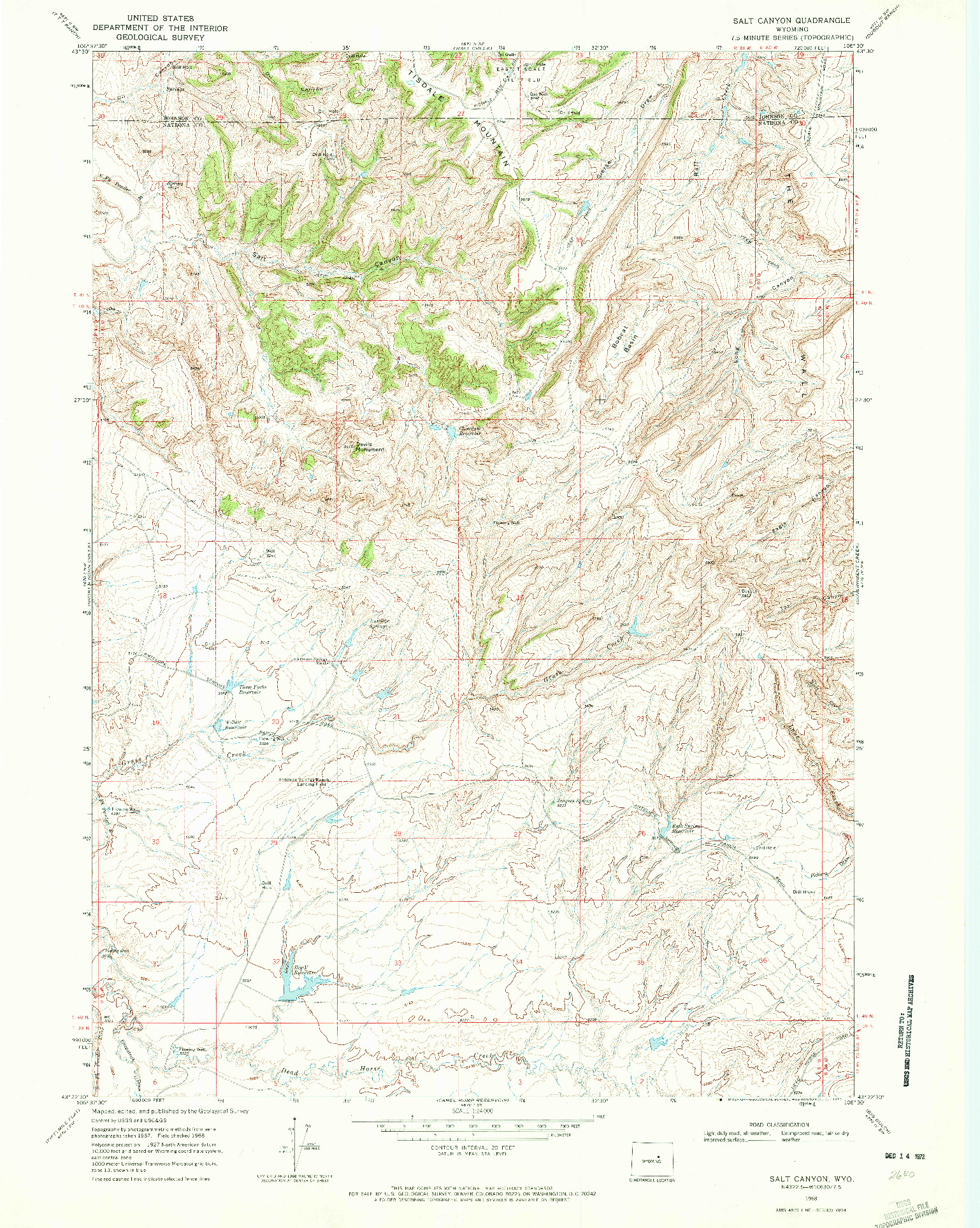 USGS 1:24000-SCALE QUADRANGLE FOR SALT CANYON, WY 1968