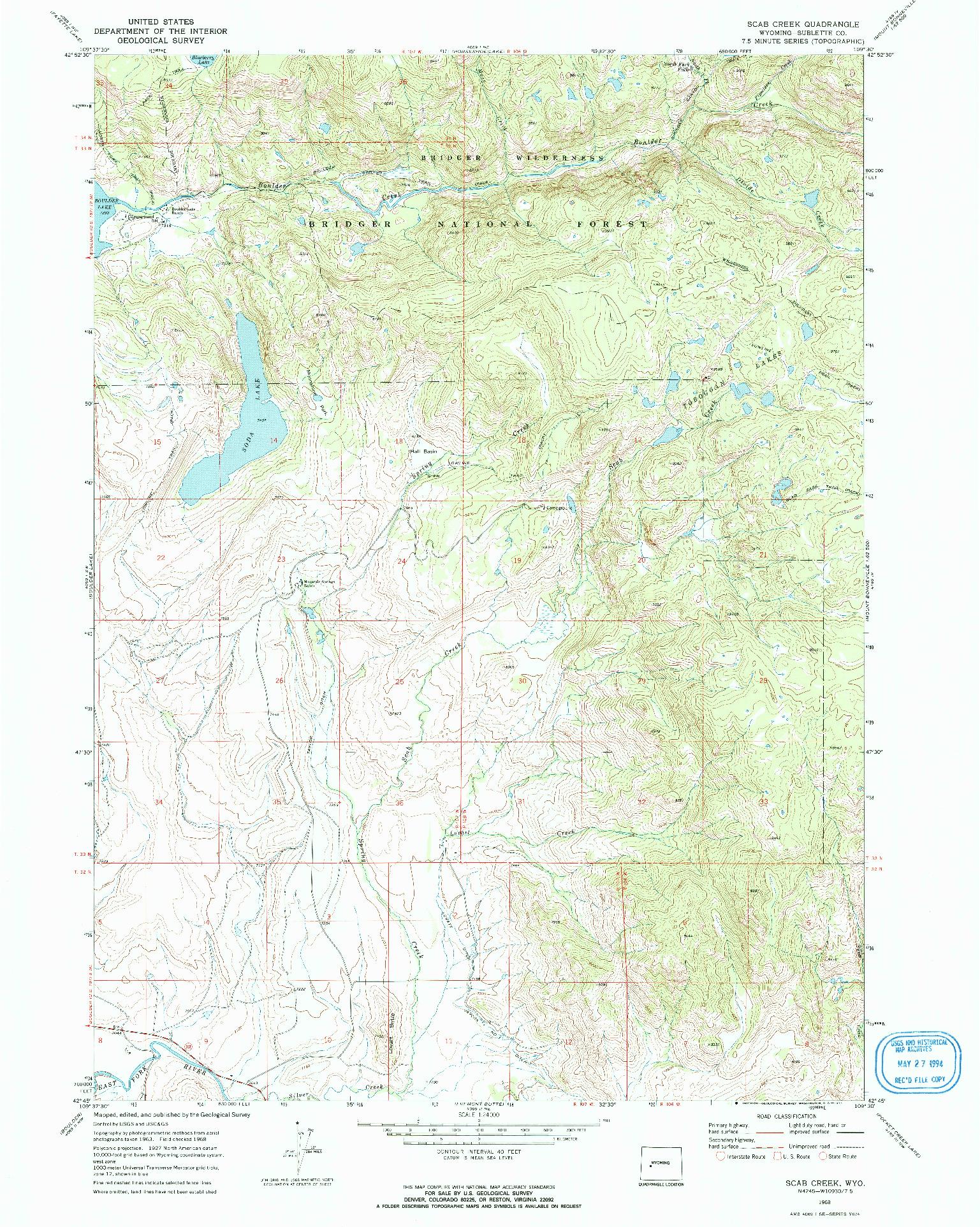 USGS 1:24000-SCALE QUADRANGLE FOR SCAB CREEK, WY 1968