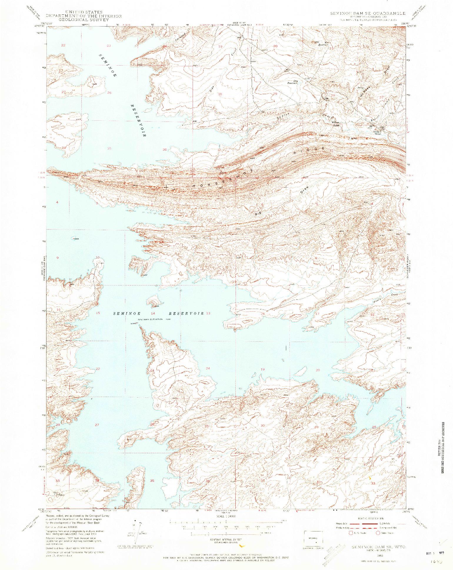 USGS 1:24000-SCALE QUADRANGLE FOR SEMINOE DAM SE, WY 1953
