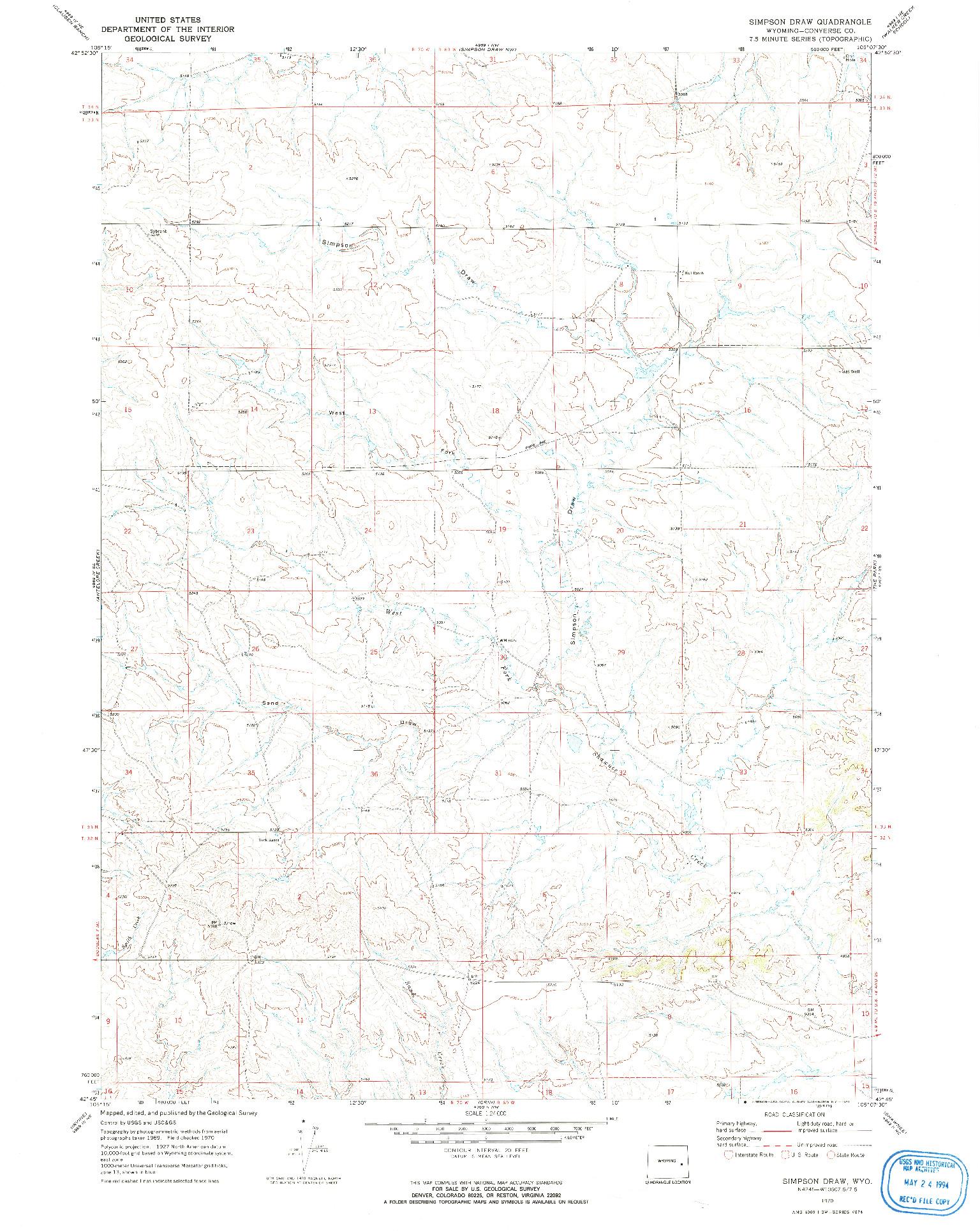 USGS 1:24000-SCALE QUADRANGLE FOR SIMPSON DRAW, WY 1970