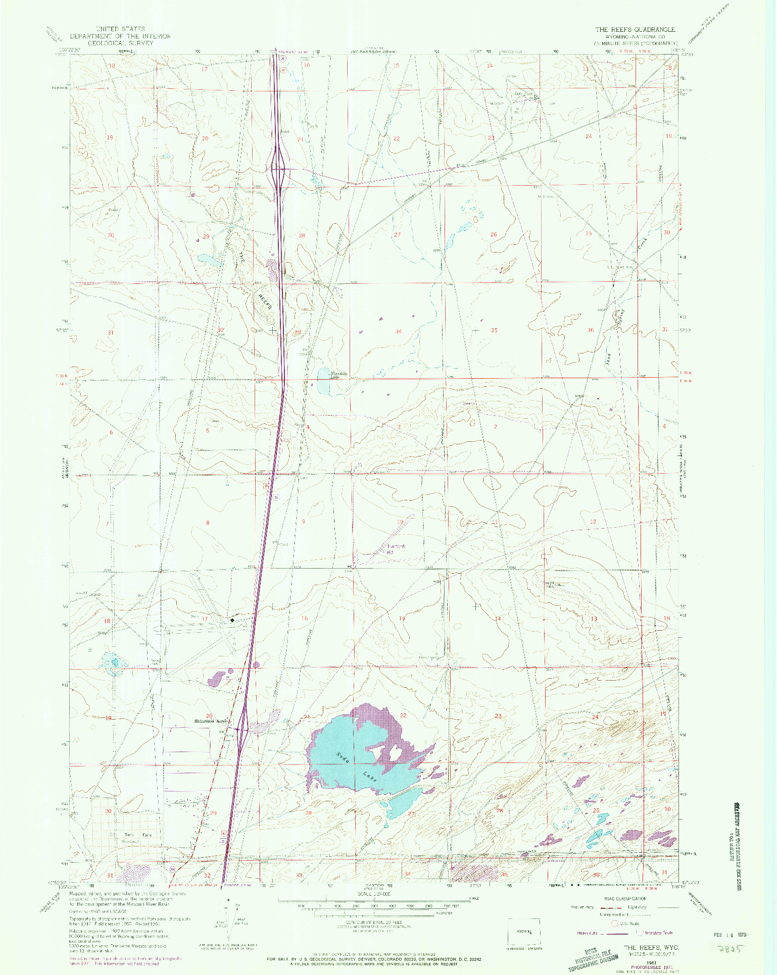 USGS 1:24000-SCALE QUADRANGLE FOR THE REEFS, WY 1961