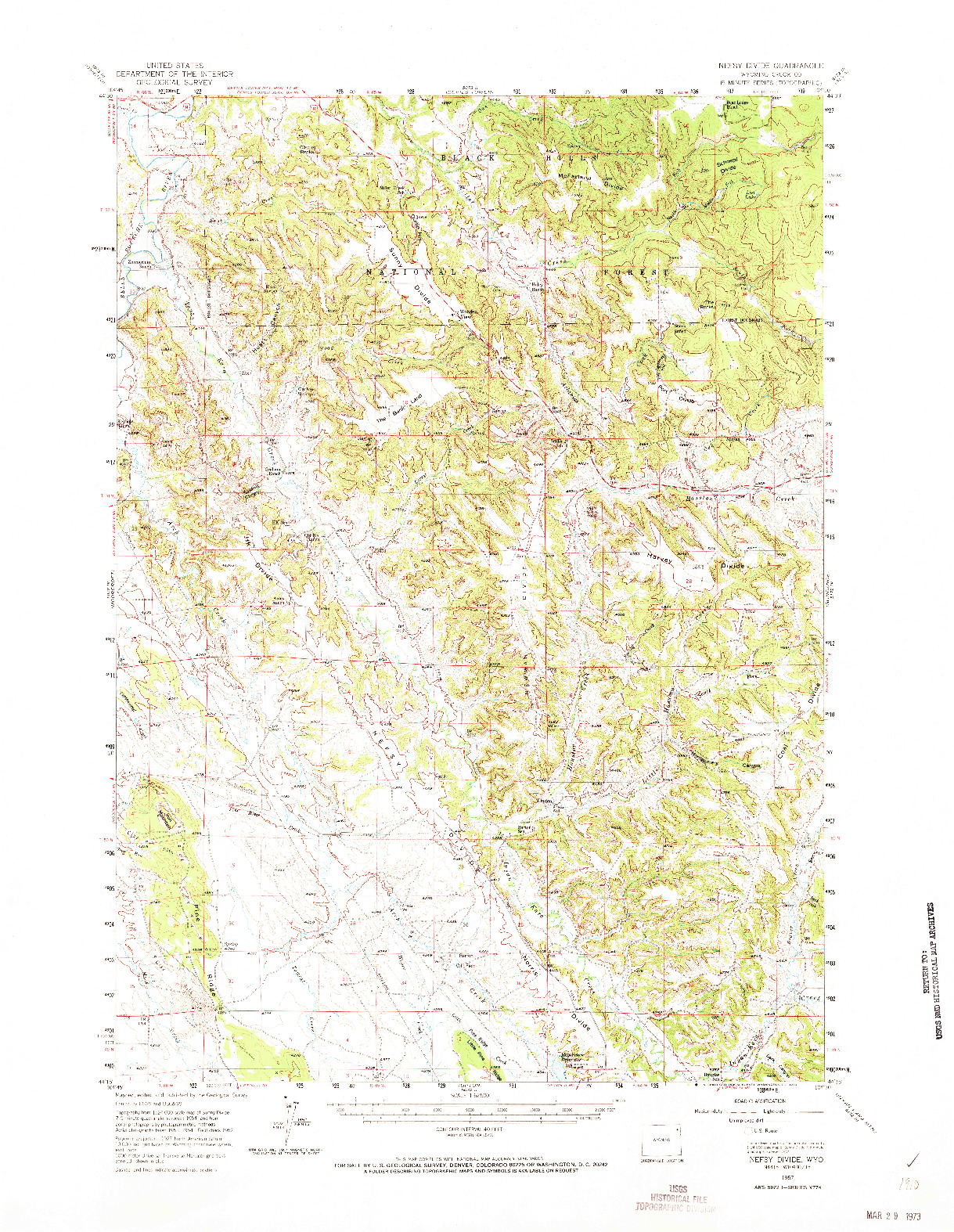 USGS 1:62500-SCALE QUADRANGLE FOR NEFSY DIVIDE, WY 1957