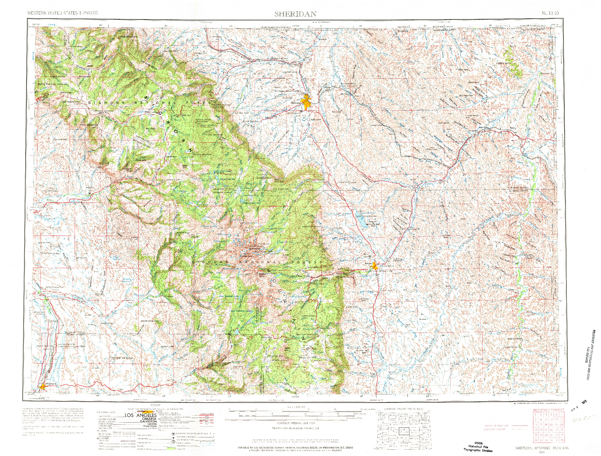 USGS 1:250000-SCALE QUADRANGLE FOR SHERIDAN, WY 1955