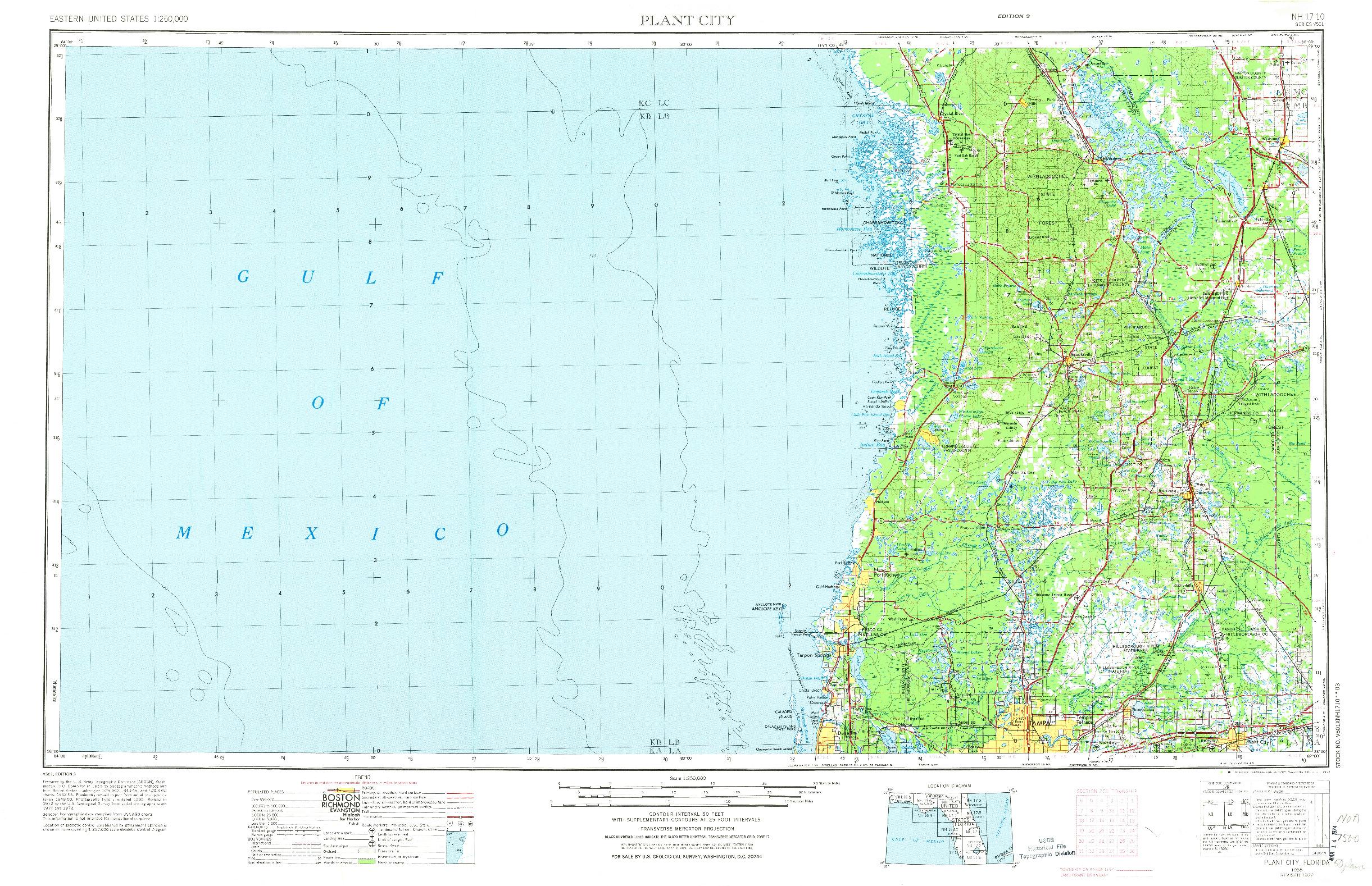 USGS 1:250000-SCALE QUADRANGLE FOR PLANT CITY, FL 1955
